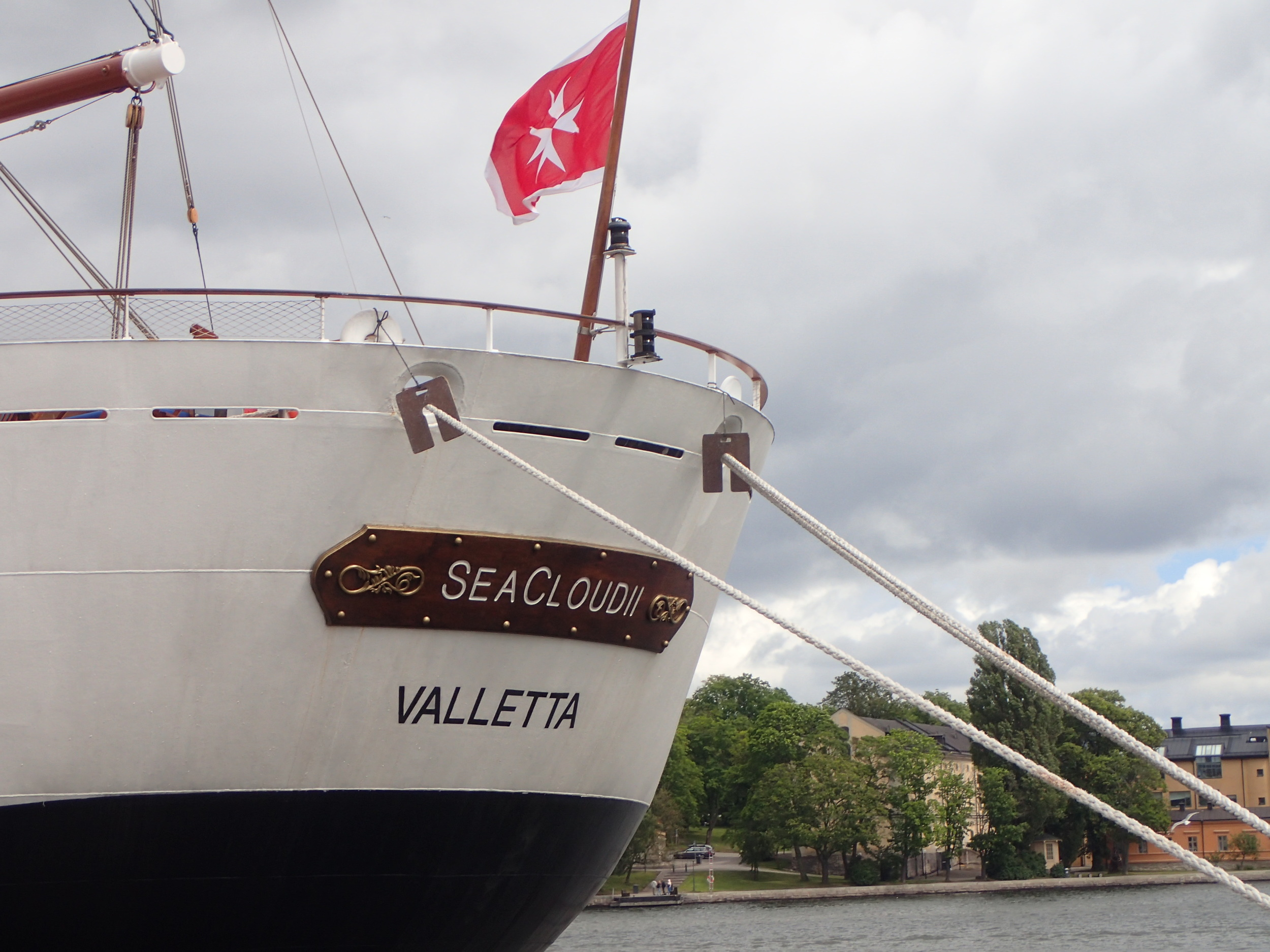 The sailing vessel Sea Cloud II from Valletta in Stockholm harbor (July 2015).