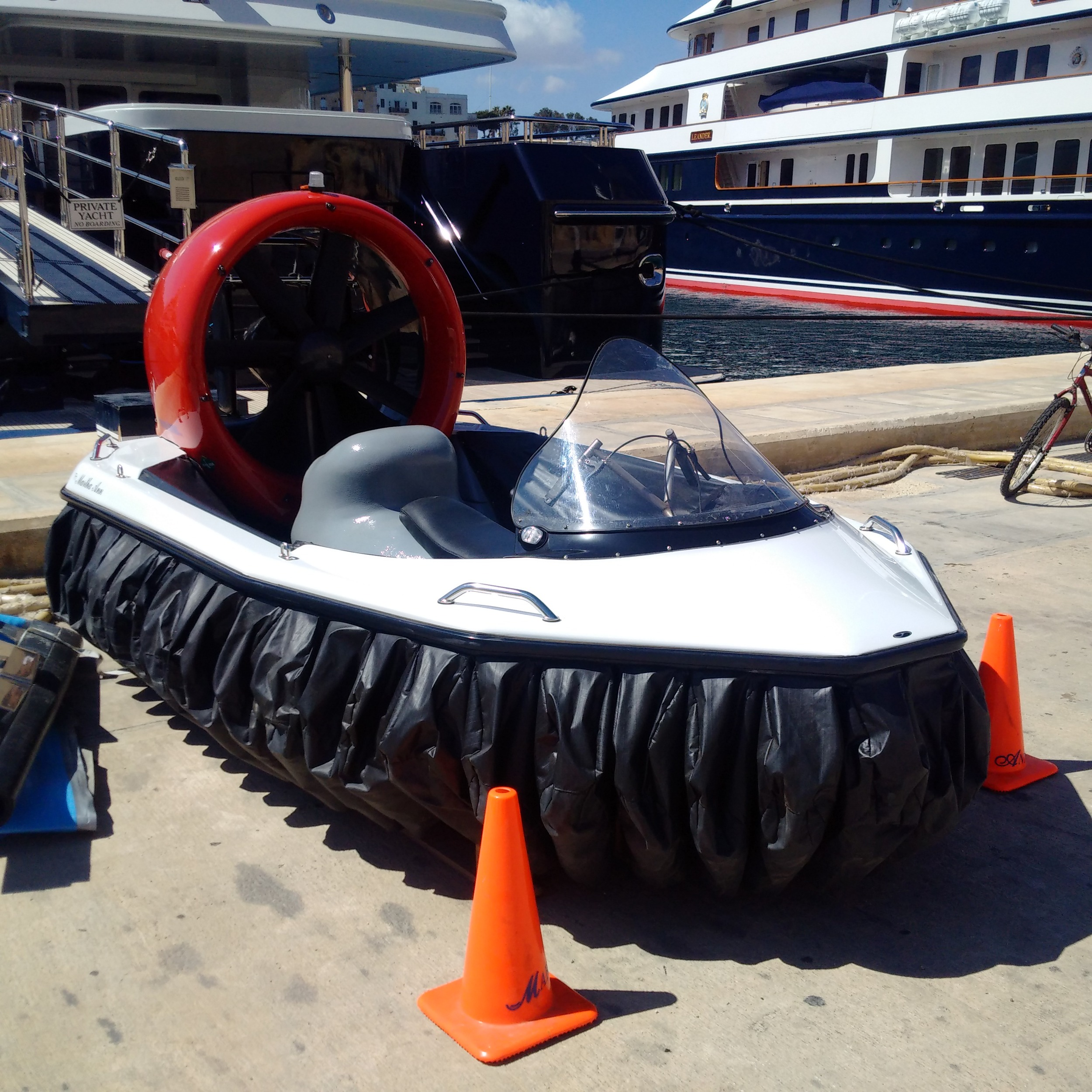 A Renegade IQ Hovercraft in the marina in Cospicua.