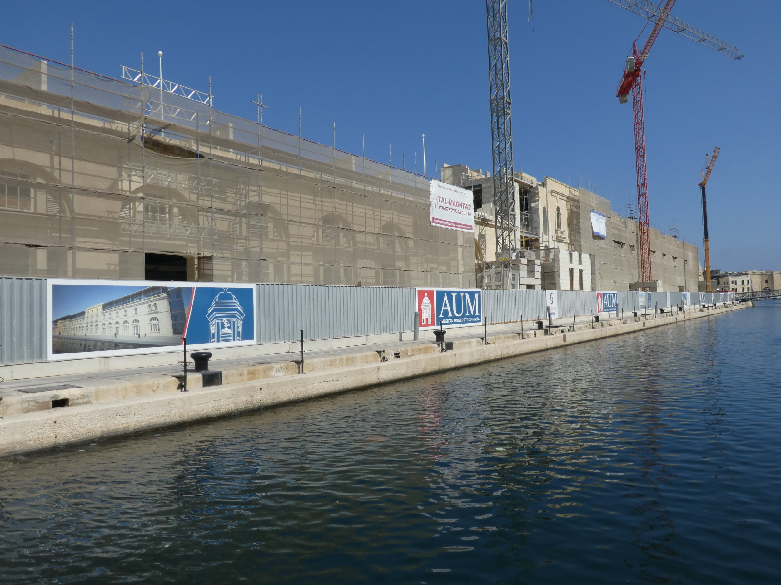 The construction site of Cospicua's Dock number one, which will become one of the campuses of the American University of Malta.