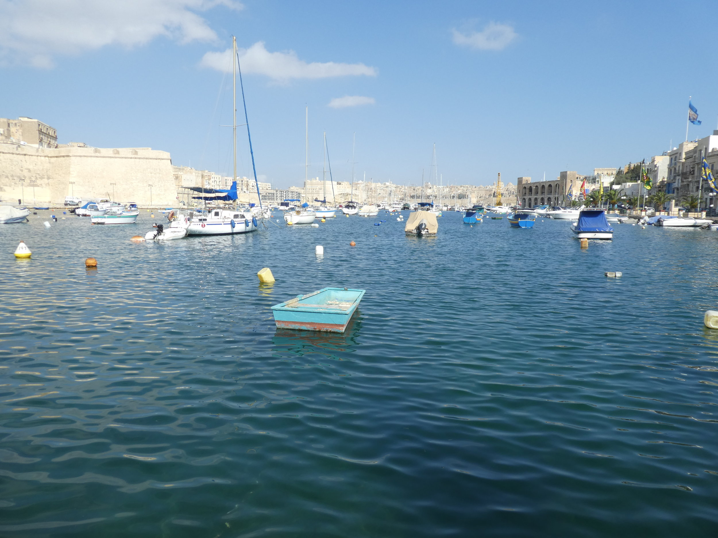 At the Kalkara waterfront. The village feast is on, but all is quiet during the day.