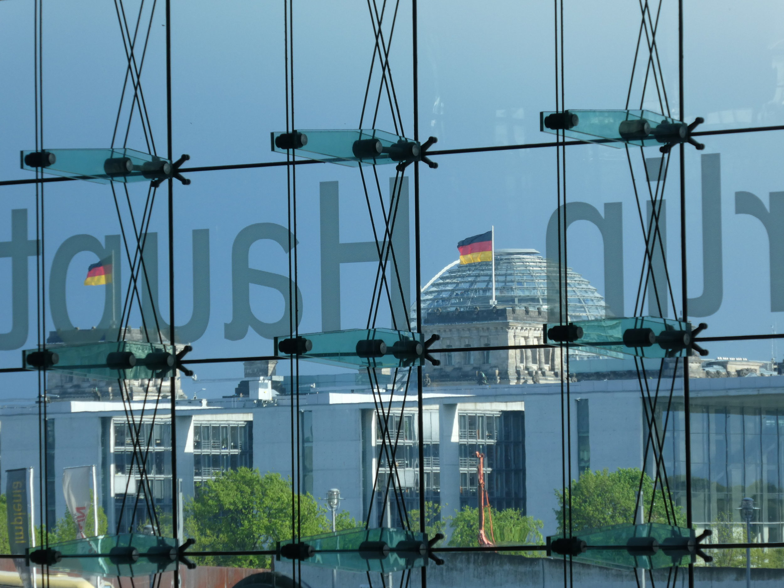 View from the Main Train Station in Berlin on the Bundestag (German Parliament)