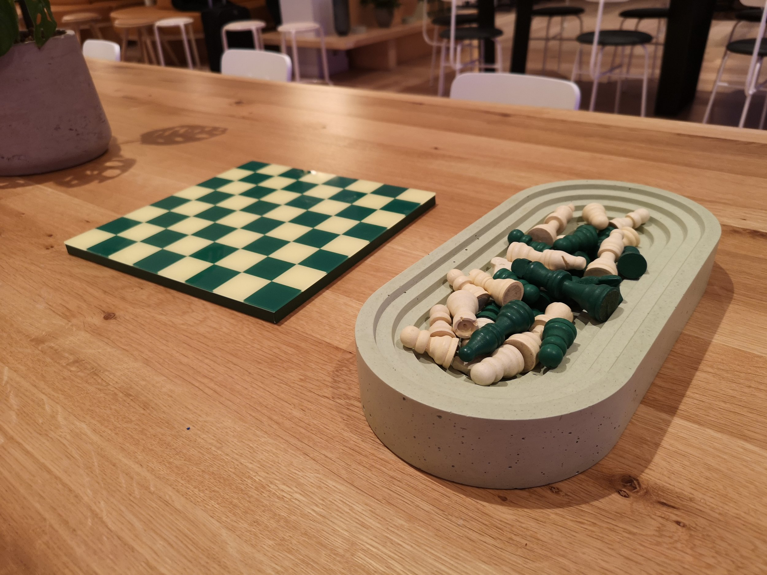 Chess game available in the common area of WeWork Aviation House, London.