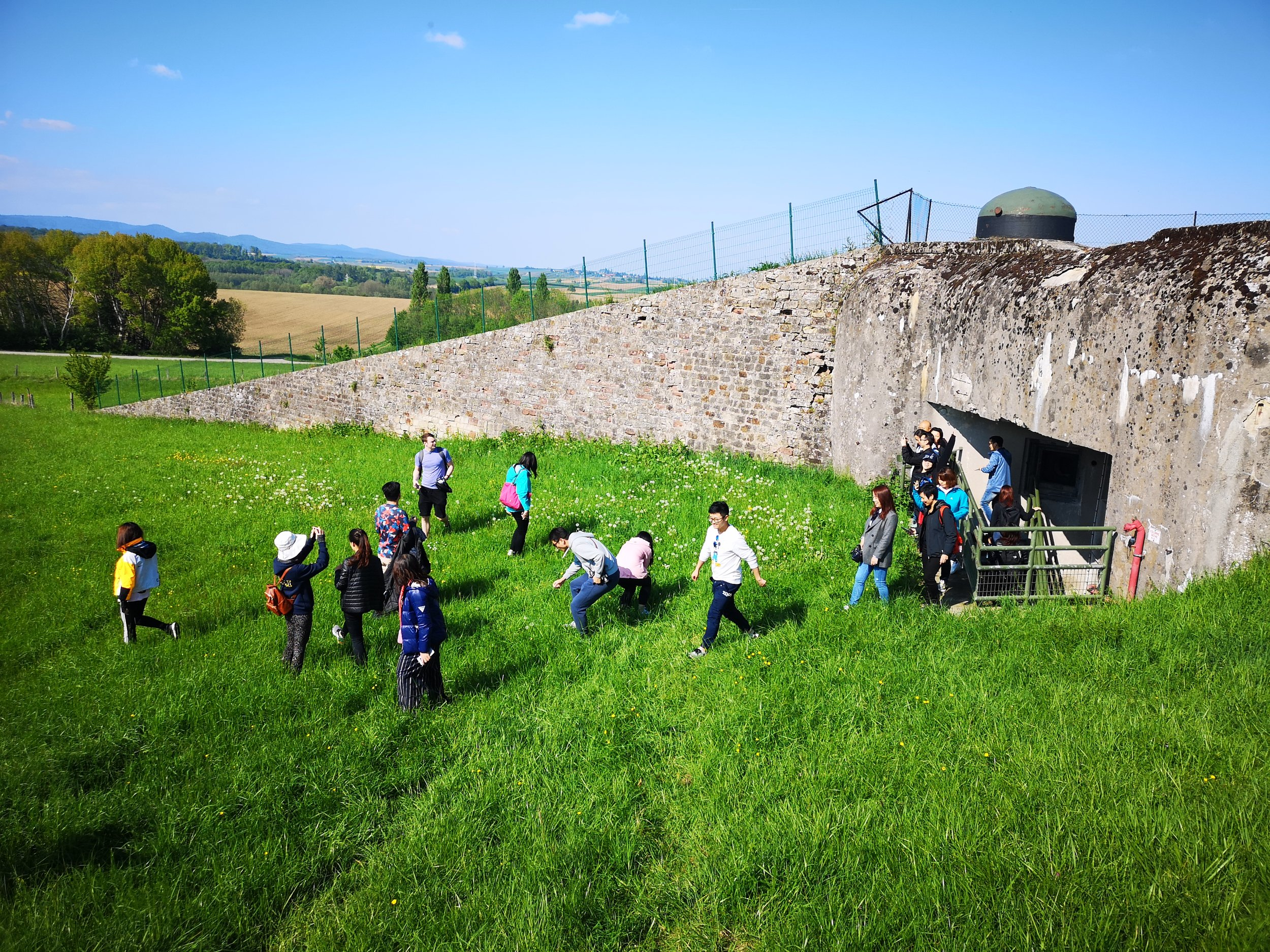 Students exiting an infantry combat stand at Ligne Maginot after an underground hike (photo with permission).