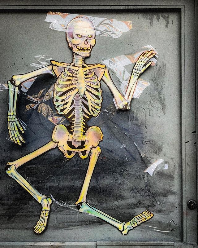 I have a bone to stick with you. • • • #boner #skeleton #bones #skeletonwar #skeletonarmy #halloween #street #nyc #blessed #yae
