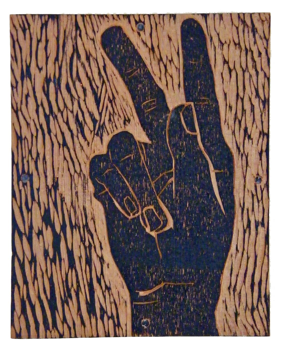 'k' from Alphabet 09, carved redwood, ink