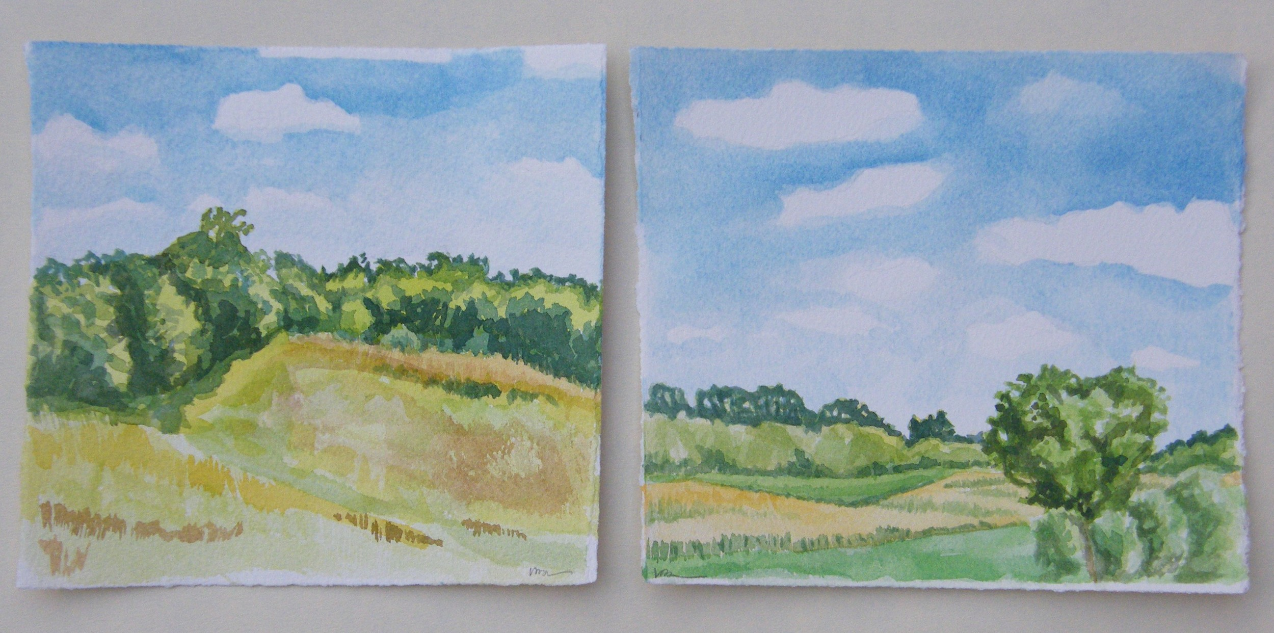 """Looking West, 6 x 6"""" left, Looking South,6 x 7"""" right"""