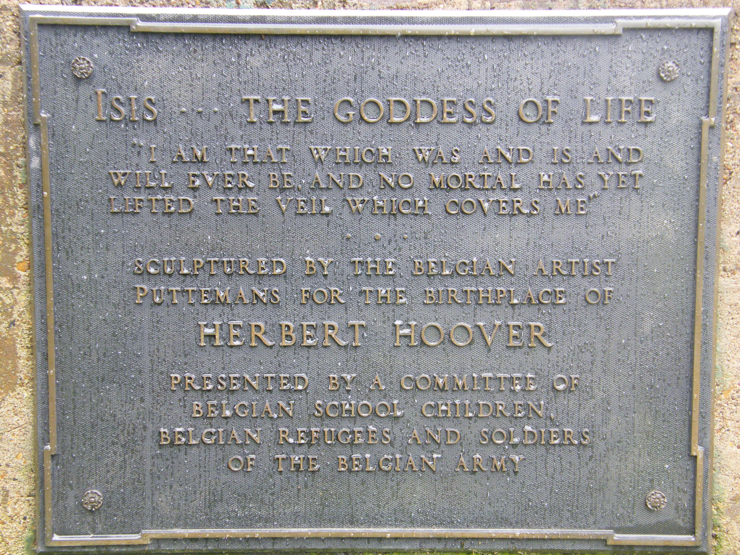 Translated plaque on the Isis sculpture