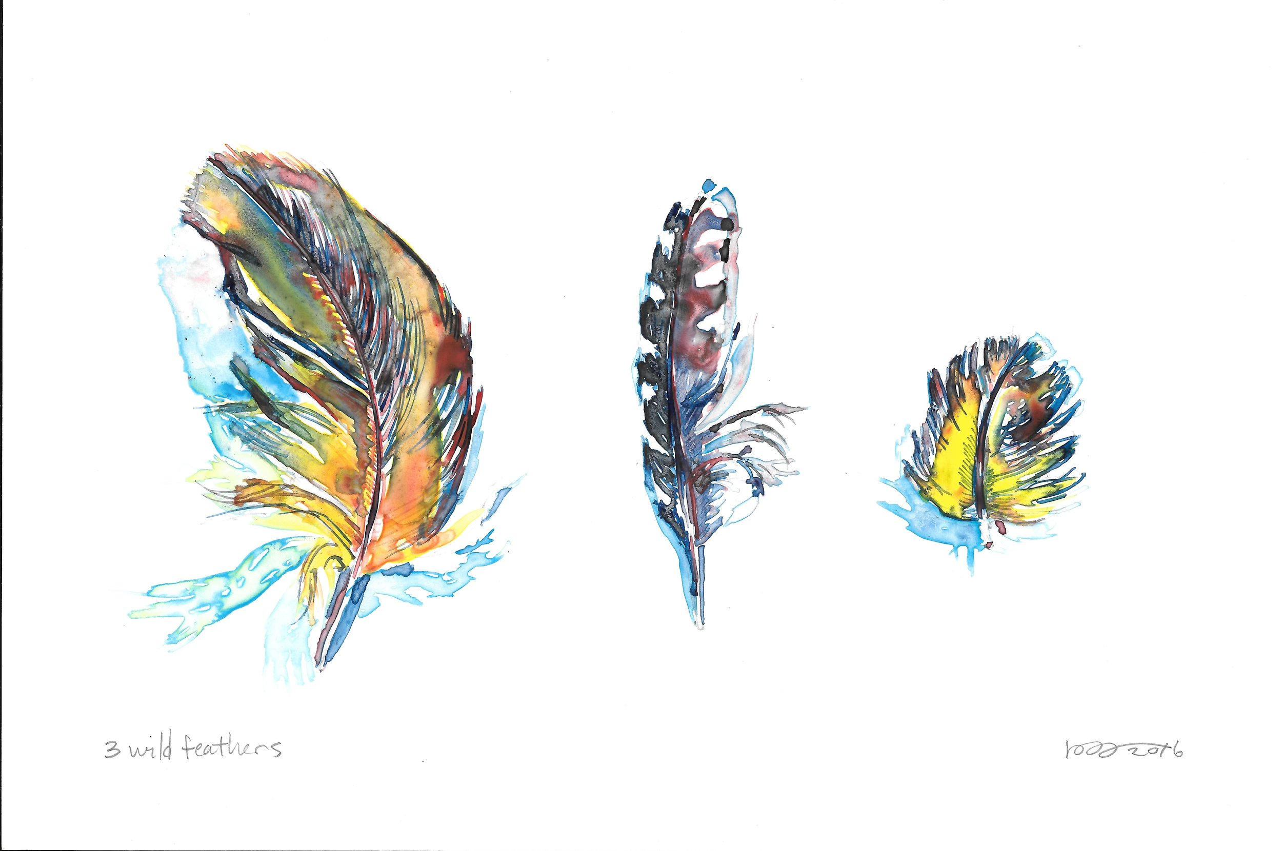 3 Wild Feathers, watercolor on Yupo, 6 x 9""