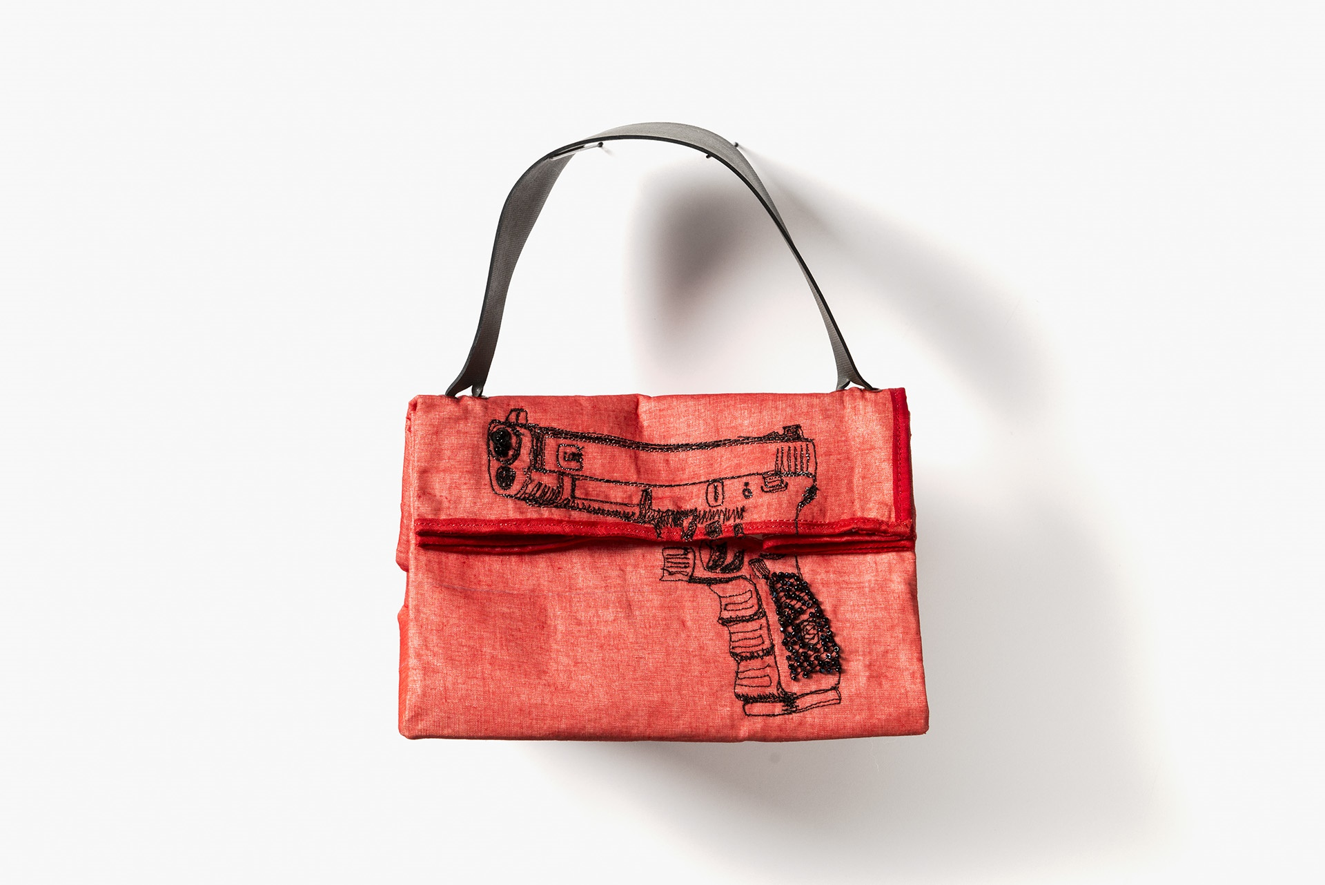 "Red Organza Glock, 10 x 9 x 4"", organza, interfacing, rubber, thread, beads"