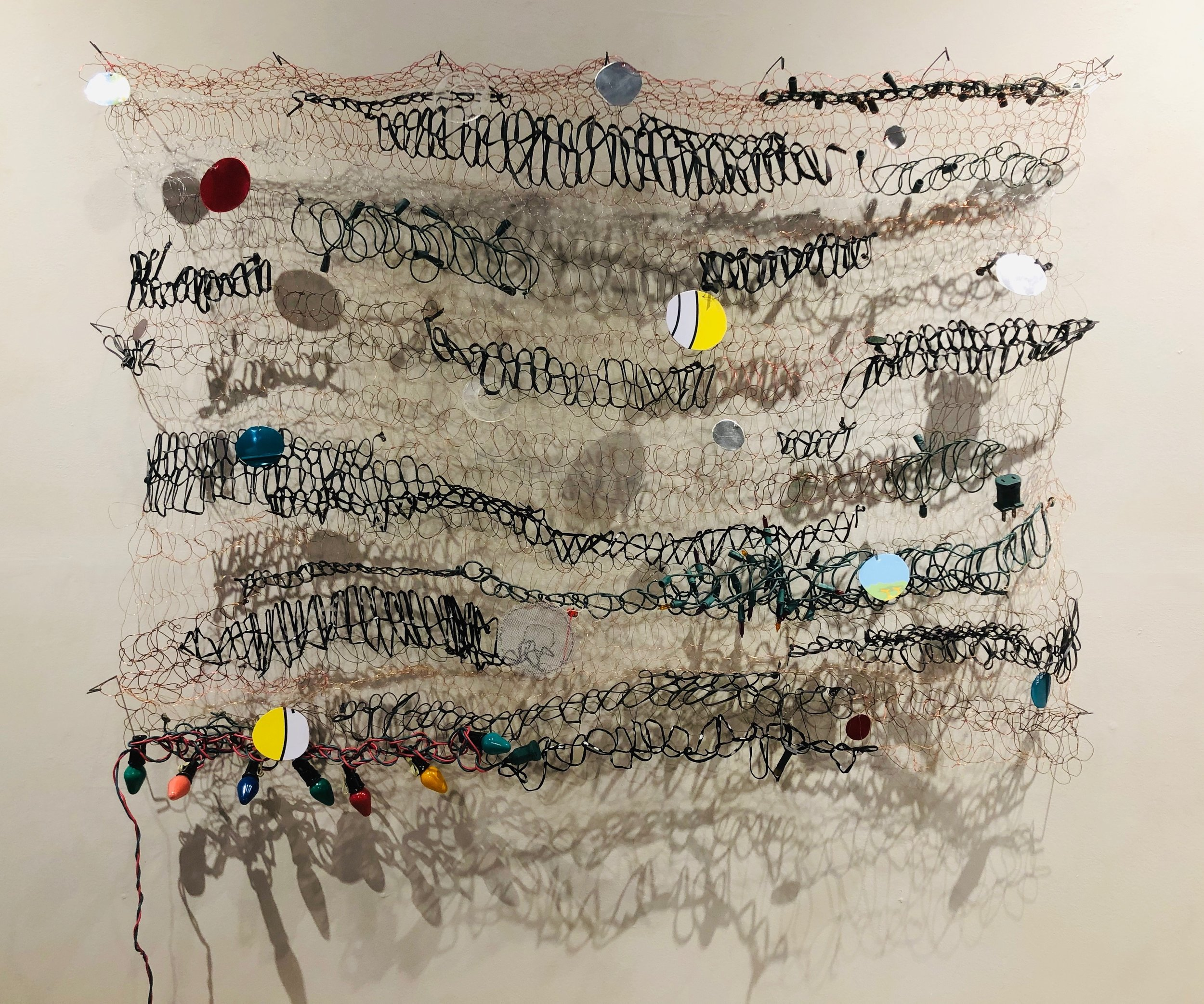 "The New Normal, 43 x 45 x 5"", wire, rubber, leather, found objects"
