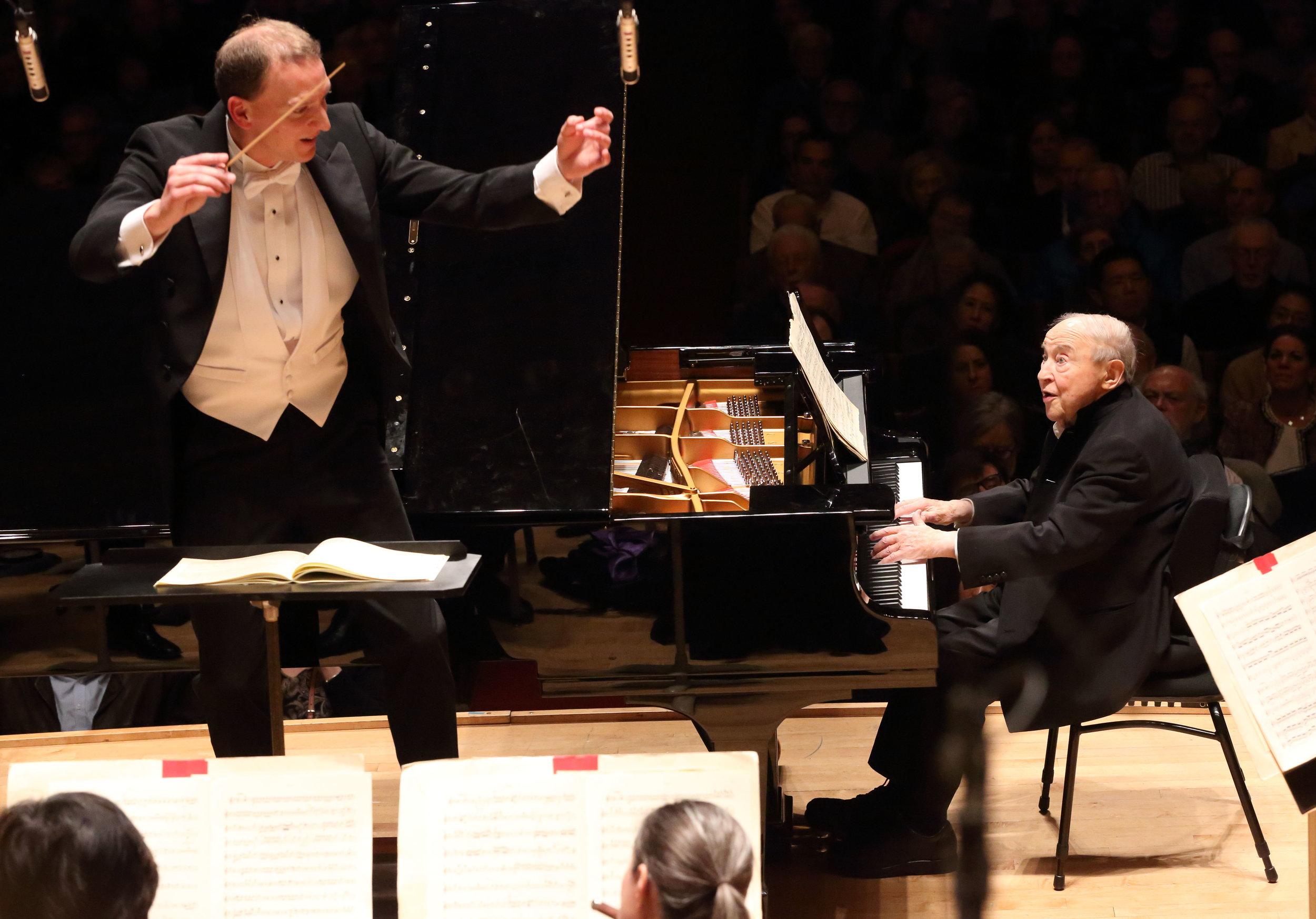 Moritz Gnann conducts the Boston Symphony Orchestra, with soloist Menahem Pressler, Nov. 22, 2016. Hilary Scott photograph.