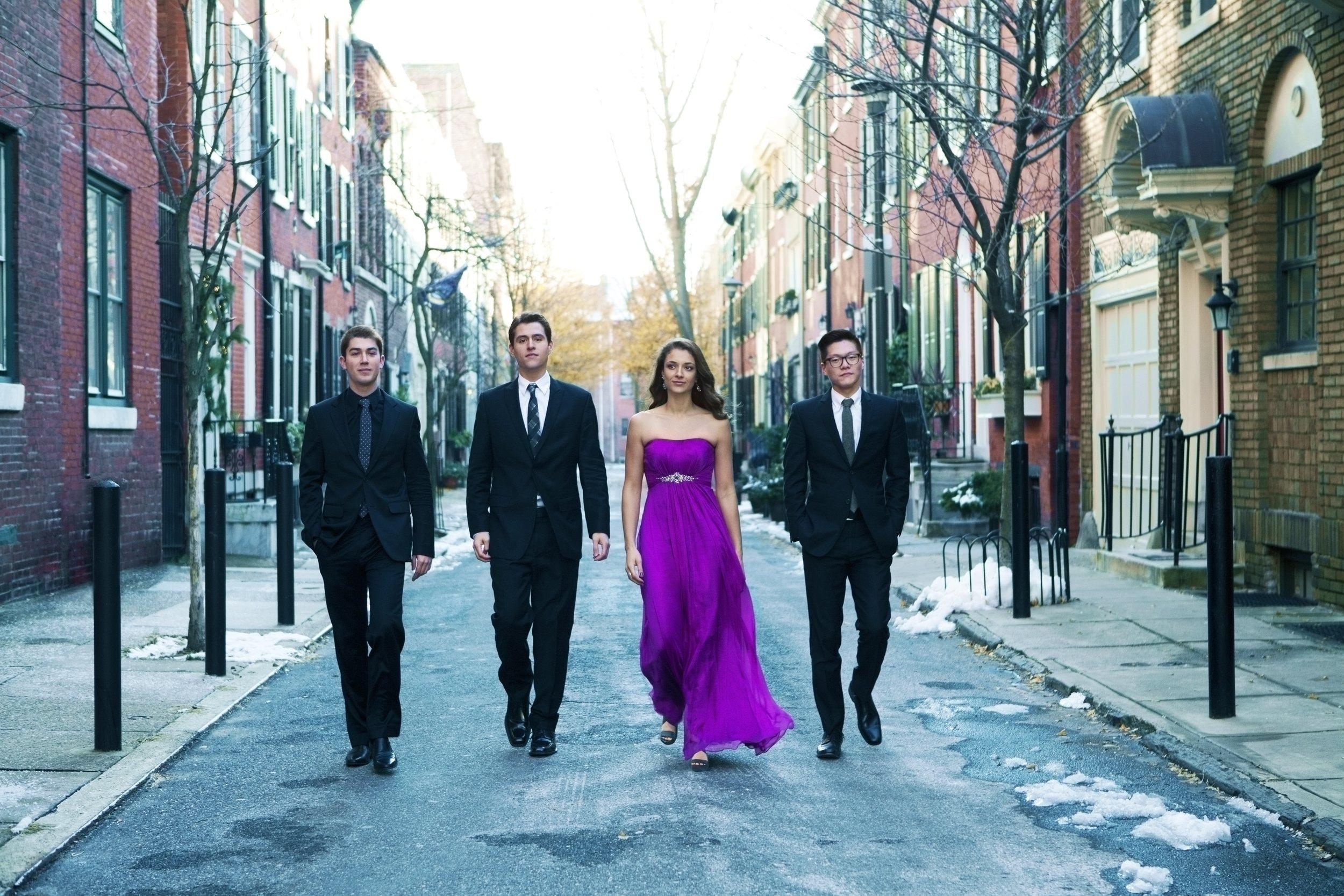 The Dover Quartet: Camden Shaw (cello), Joel Link (first violin), Milena Pajaro-van de Stadt (viola), Bryan Lee (second violin).