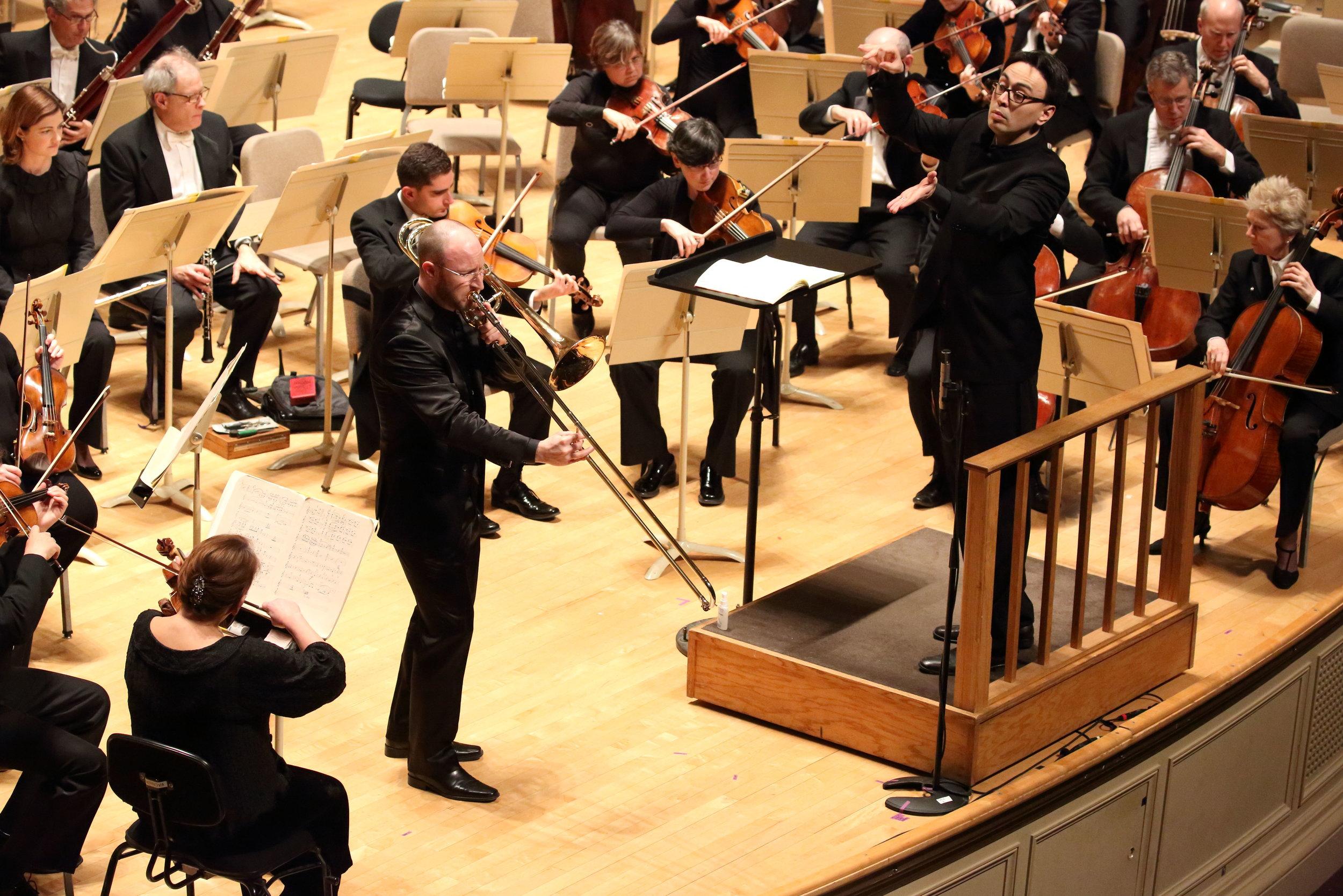 Boston Symphony Orchestra principal Toby Oft performs Nino Rota's Trombone Concerto with Ken-David Masur conducting, 5 January 2017. Hilary Scott photograph.