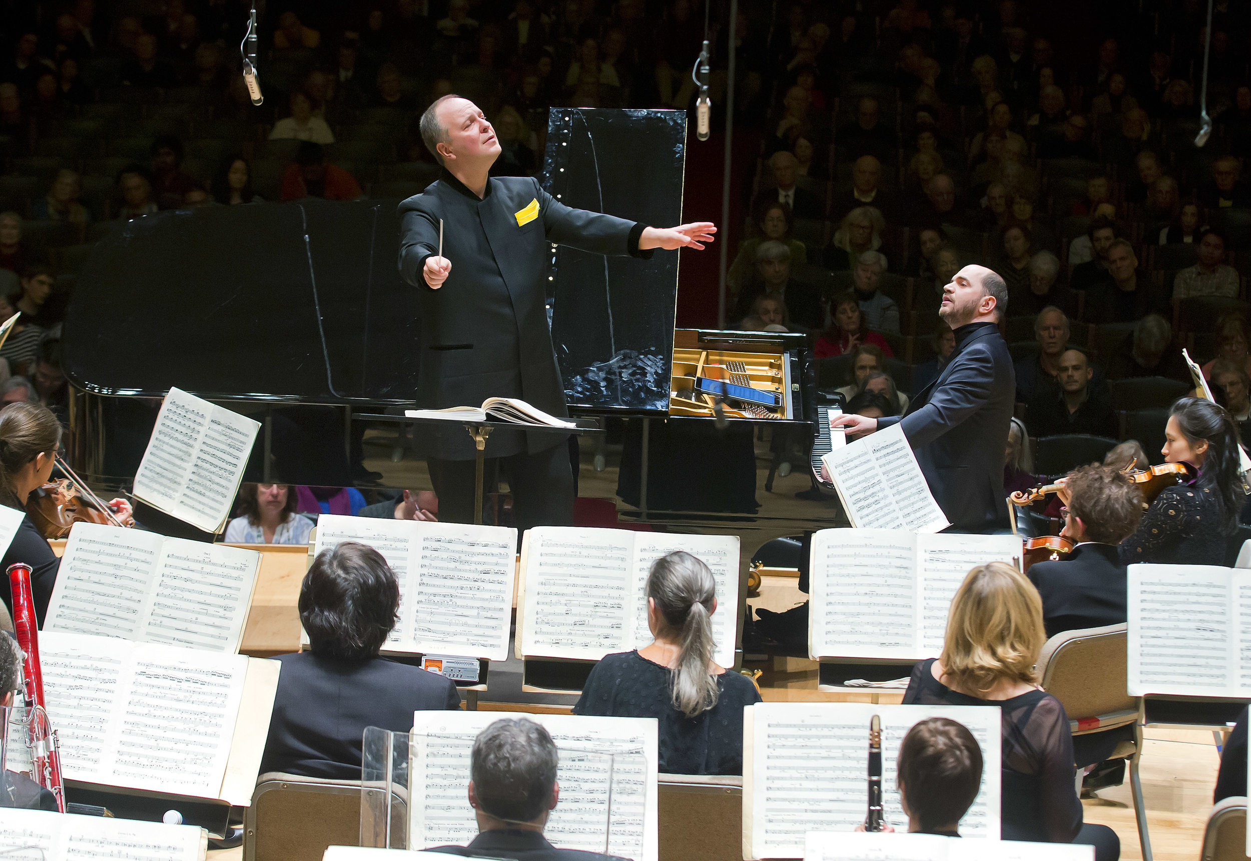 The Boston Symphony Orchestra, Sakari Oramo conducting, with soloist Kirill Gerstein, Friday afternoon at Symphony Hall. Winslow Townson photograph.