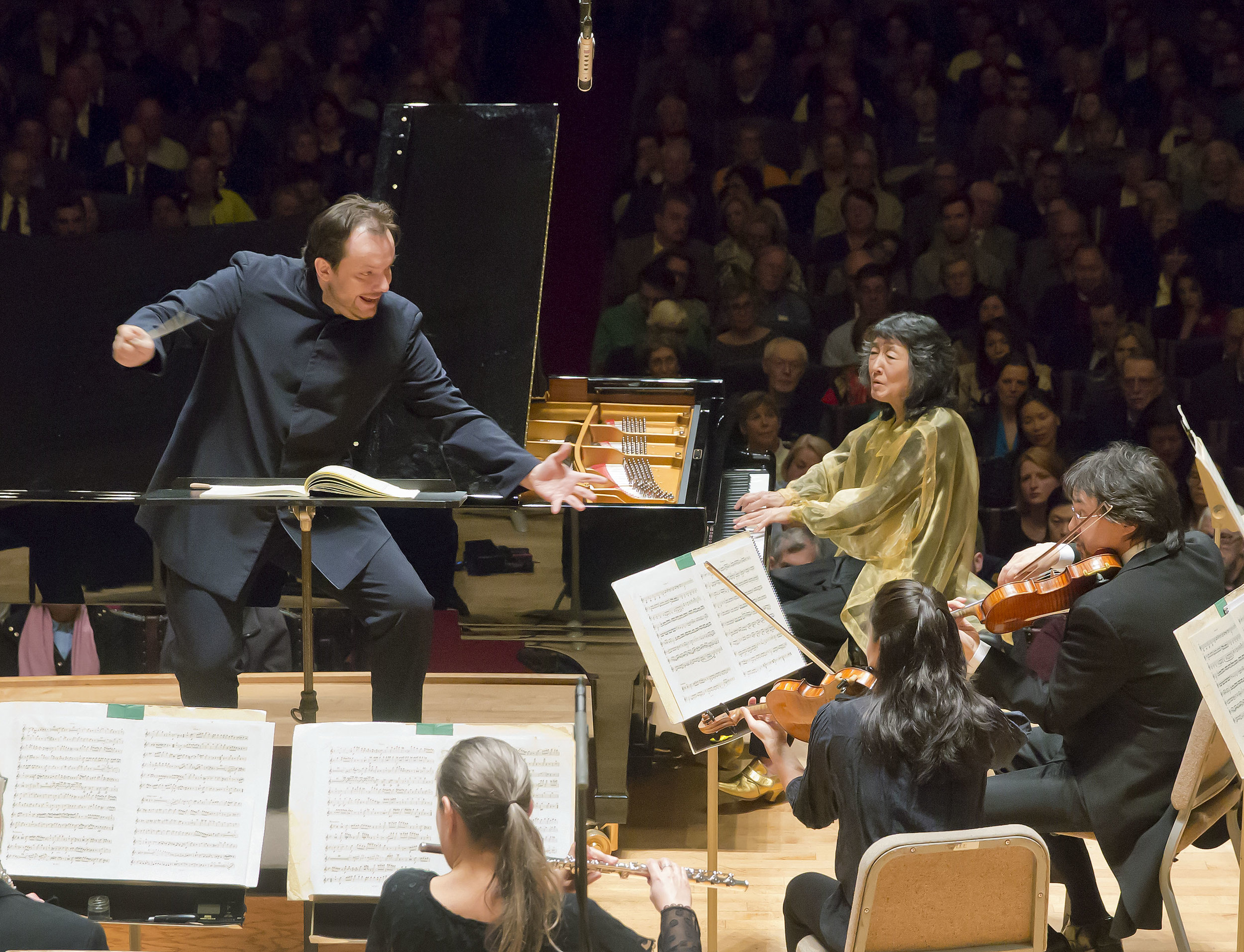 Andris Nelsons conducts the Boston Symphony Orchestra, with Mitsuko Uchida, piano, Thursday, April 13, 2017. Winslow Townson photograph.