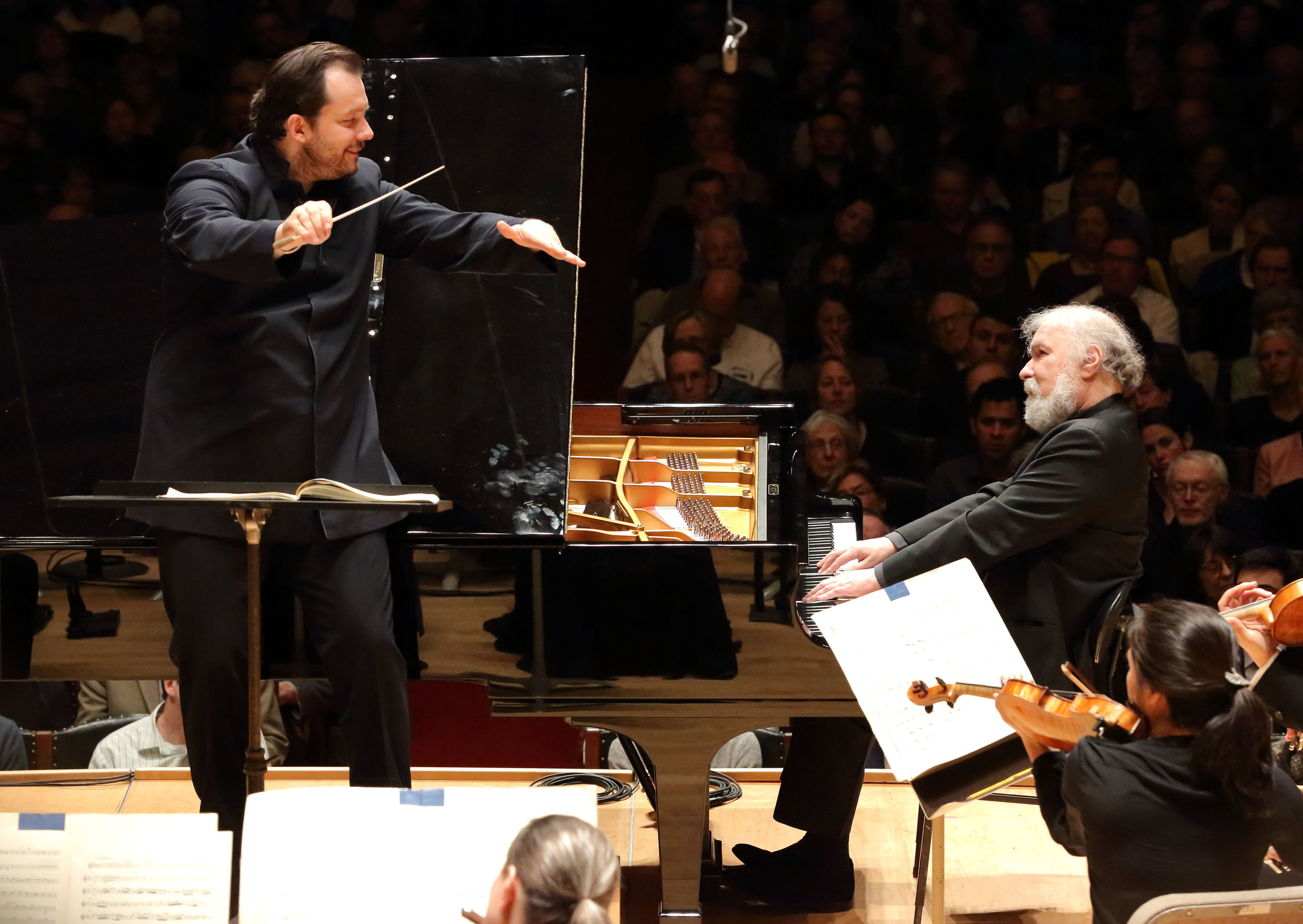 Andris Nelsons conducts the Boston Symphony Orchestra with pianist Radu Lupu, 20 April 2017. Hilary Scott photograph