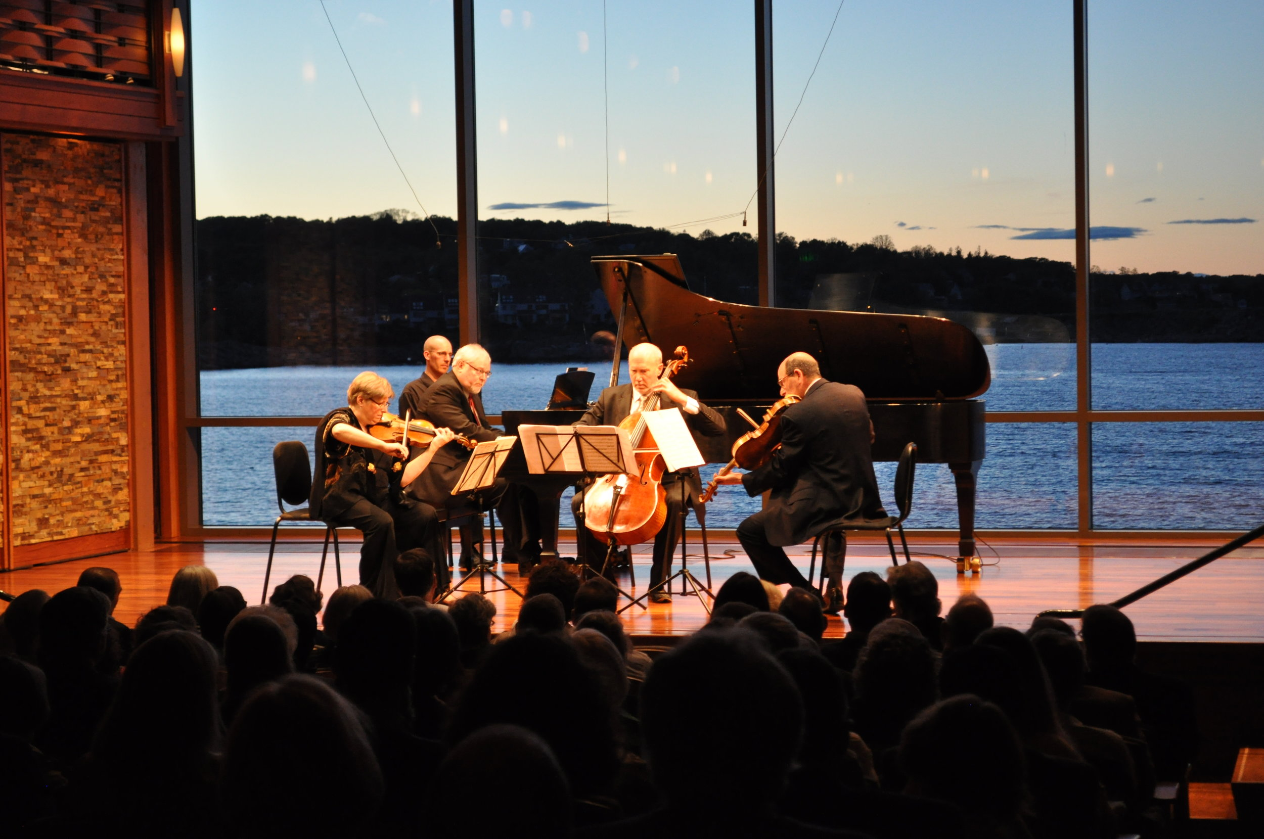 Violinist Bayla Keyes, pianist David Deveau, cellist Michael Reynolds and violist Steven Ansell, Saturday, June 3 at the Rockport Chamber Music Festival. Karen Herlitz photograph
