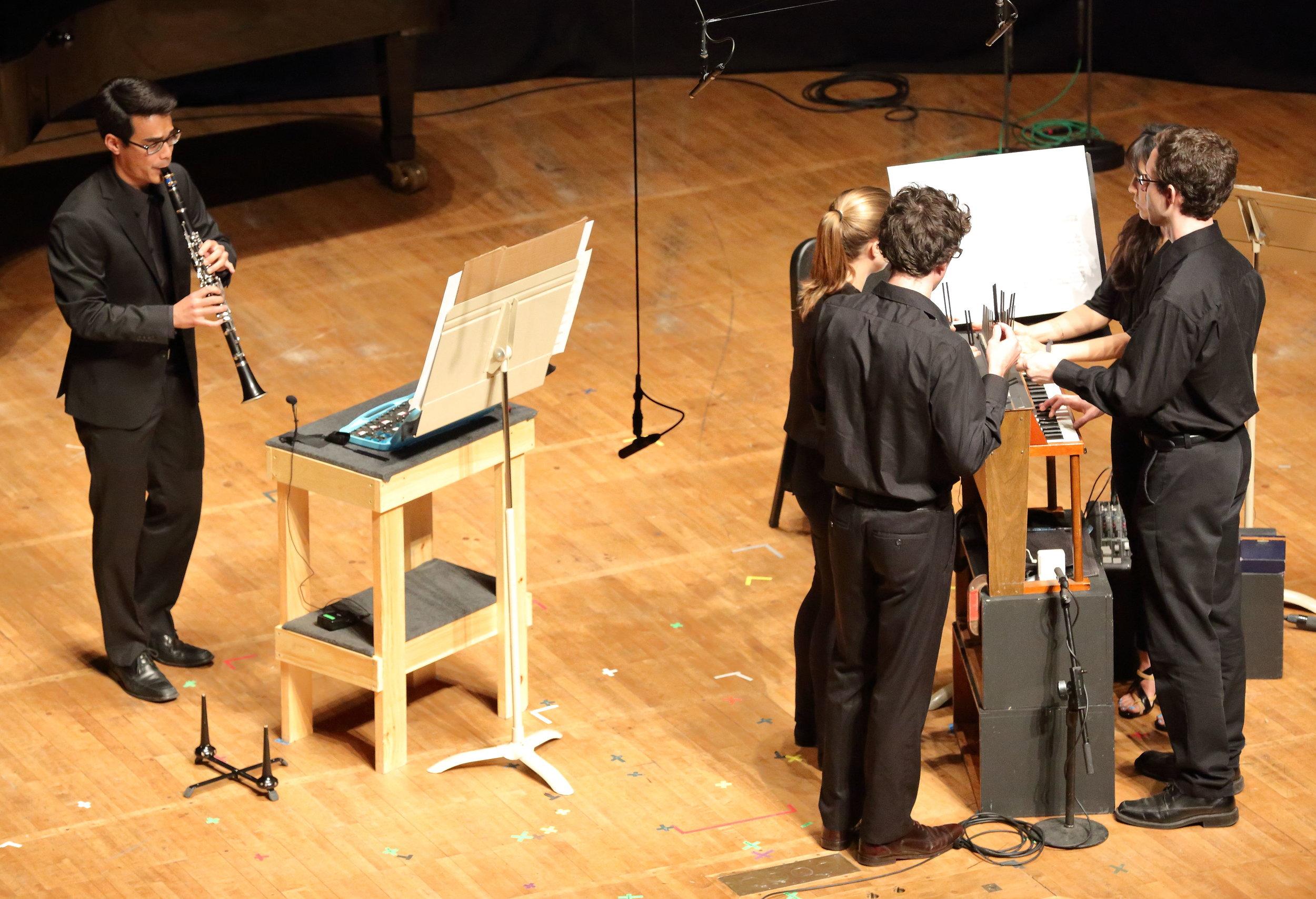 "TMC fellows perform Phyllis Chen's ""Chimers."" Hilary Scott photograph."