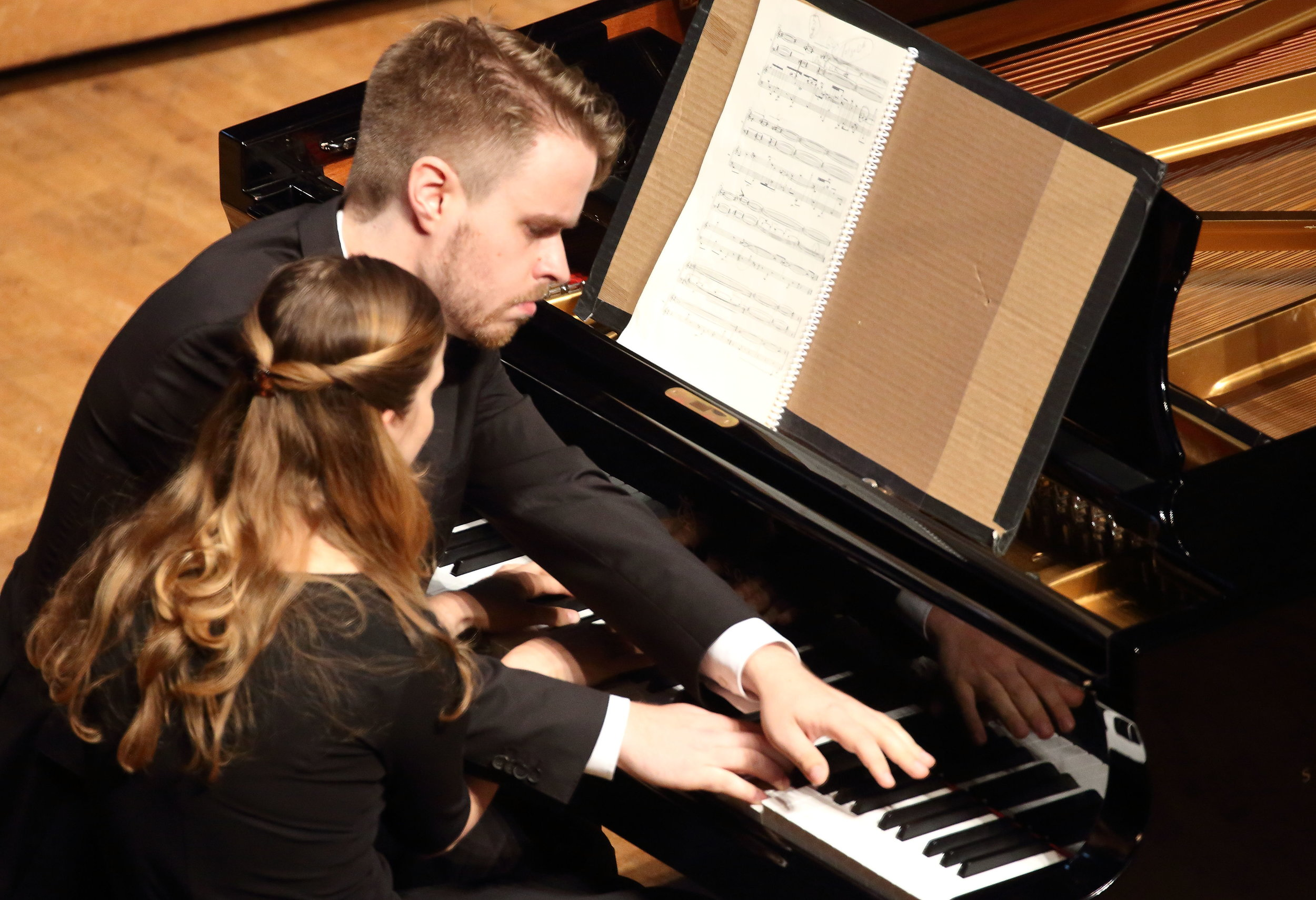 Léon Bernsdorf and Elizabeth Dorman perform Amy Williams's Abstract Art 1 and 2 in Ozawa Hall, Saturday, Aug. 12, as part of the Festival of Contemporary Music. Hilary Scott photograph