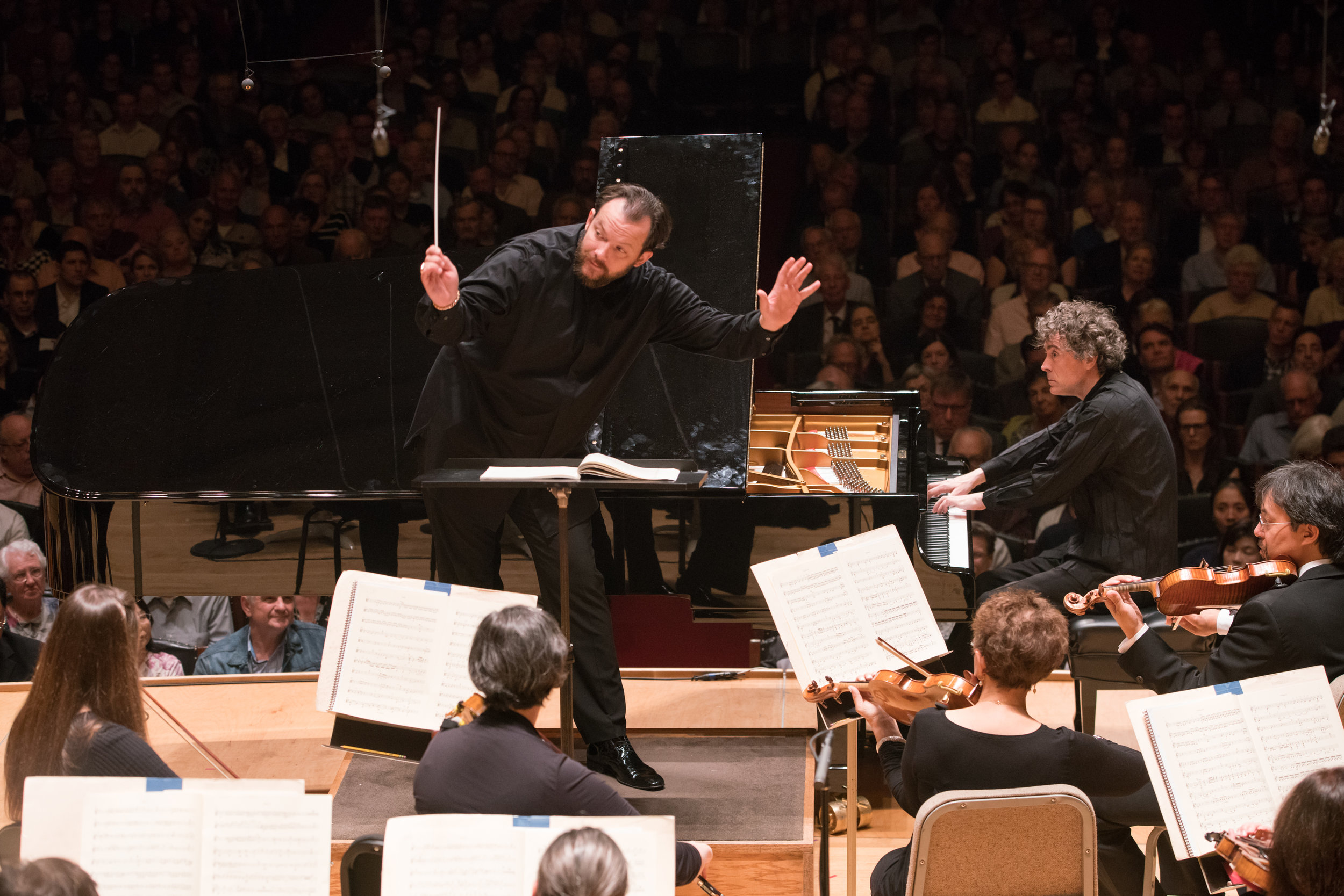 Andris Nelsons leads the Boston Symphony Orchestra with pianist Paul Lewis, Thursday, Sept. 28, 2017. Michael Blanchard photograph