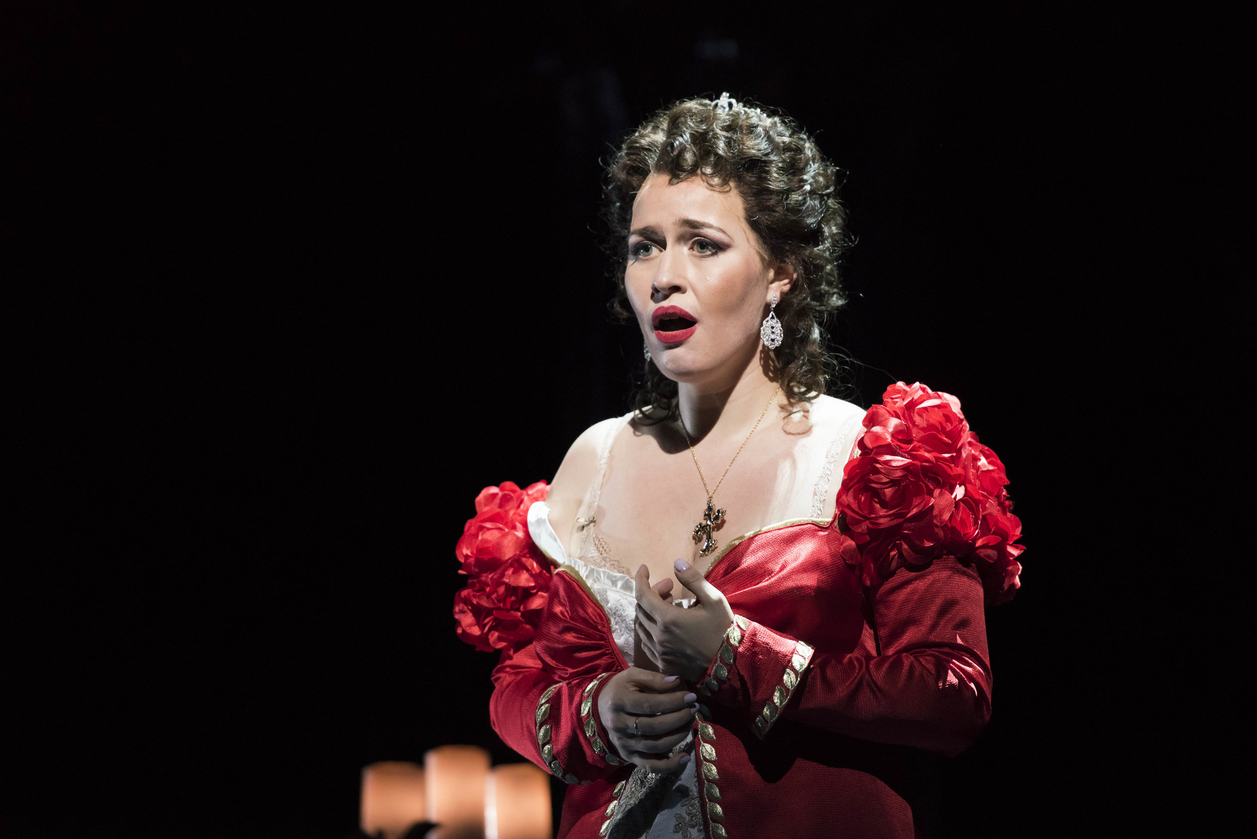 Soprano Elena Stikhina at Tosca in the Boston Lyric Opera production at the Emerson Majestic Theater, Oct. 13, 2017. Liza Voll photograph
