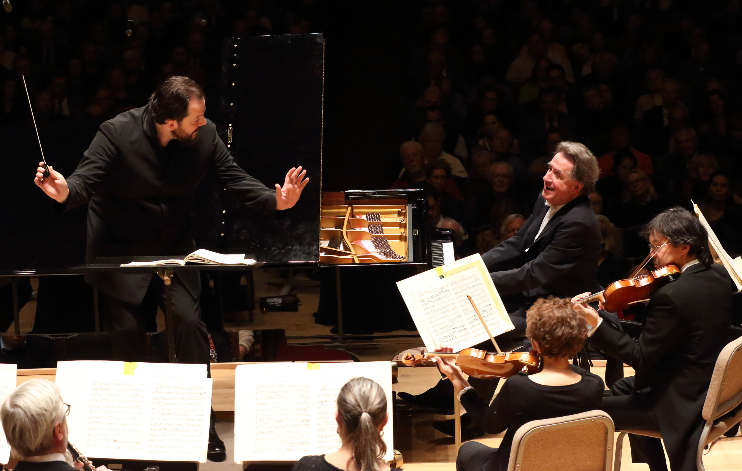 Music director Andris Nelsons leads the Boston Symphony Orchestra in Beethoven' First Piano Concerto, with soloist Rudolf Buchbinder, Tuesday, Nov. 22. Hilary Scott photograph.