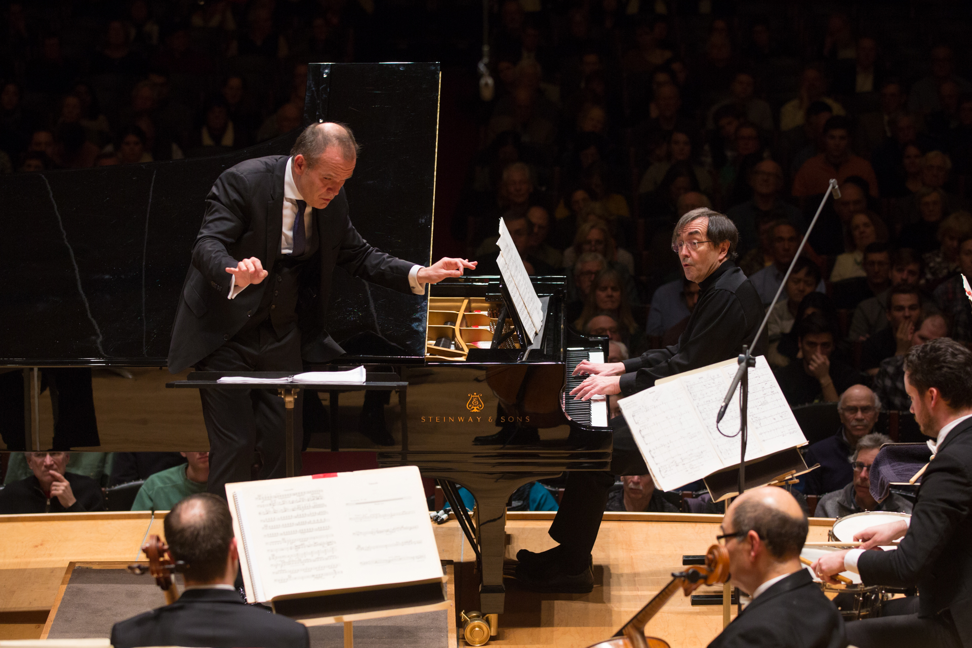 François-Xavier Roth leads the Boston Symphony Orchestra, with pianist Pierre-Laurent Aimard, Thursday, Jan. 11 at Symphony Hall. Robert Torres photograph.