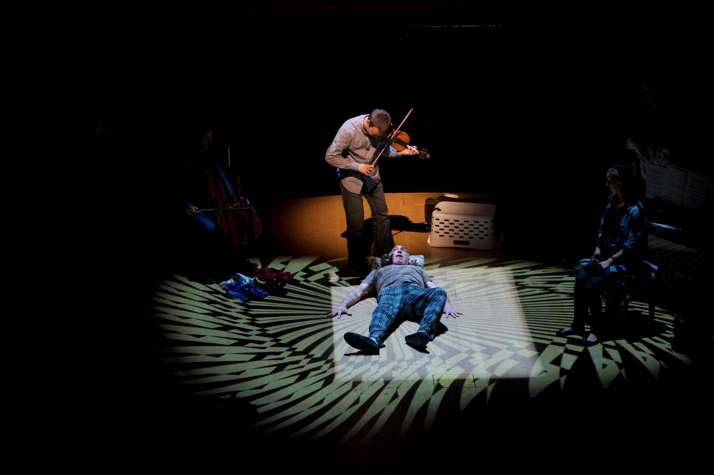 """Violinist Roman Yearian performs with Joel Leffert in Christopher Wall's """"The Inherent Sadness of Low-Lying Areas,"""" Sat., Feb. 3 at Miami Beach's New World Center. Gregory Reed photograph"""
