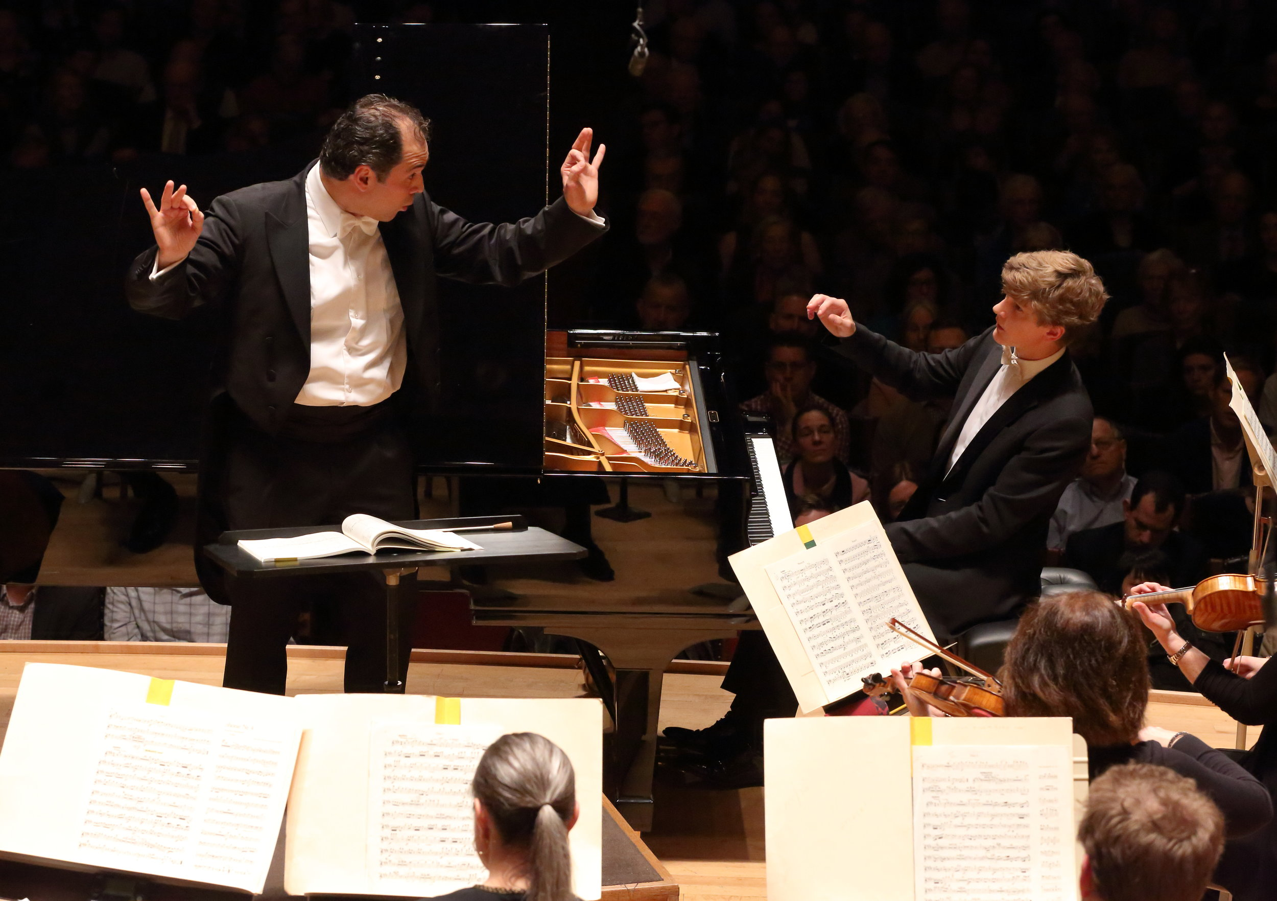 Tugan Sokhiev conducts the Boston Symphony Orchestra on April 19, 2018, the first of two concerts that mark his BSO debut. Jan Lisiecki solos in the first Chopin concerto. Hilary Scott photograph.