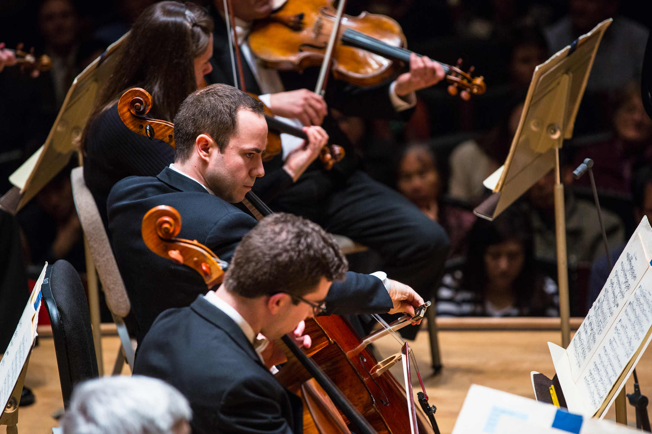 Blaise Déjardin performs during Brahms Second Symphony, in his debut as the Boston Symphony Orchestra's principal cello, 1 May 2018. Robert Torres photograph