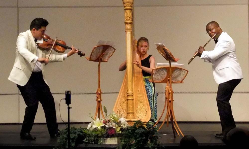 The Myriad Trio (violist Che-Yen Chen, harpist Julie Smith, flutist Demarre McGill) perform during the 2017 Kingston Chamber Music Festival.