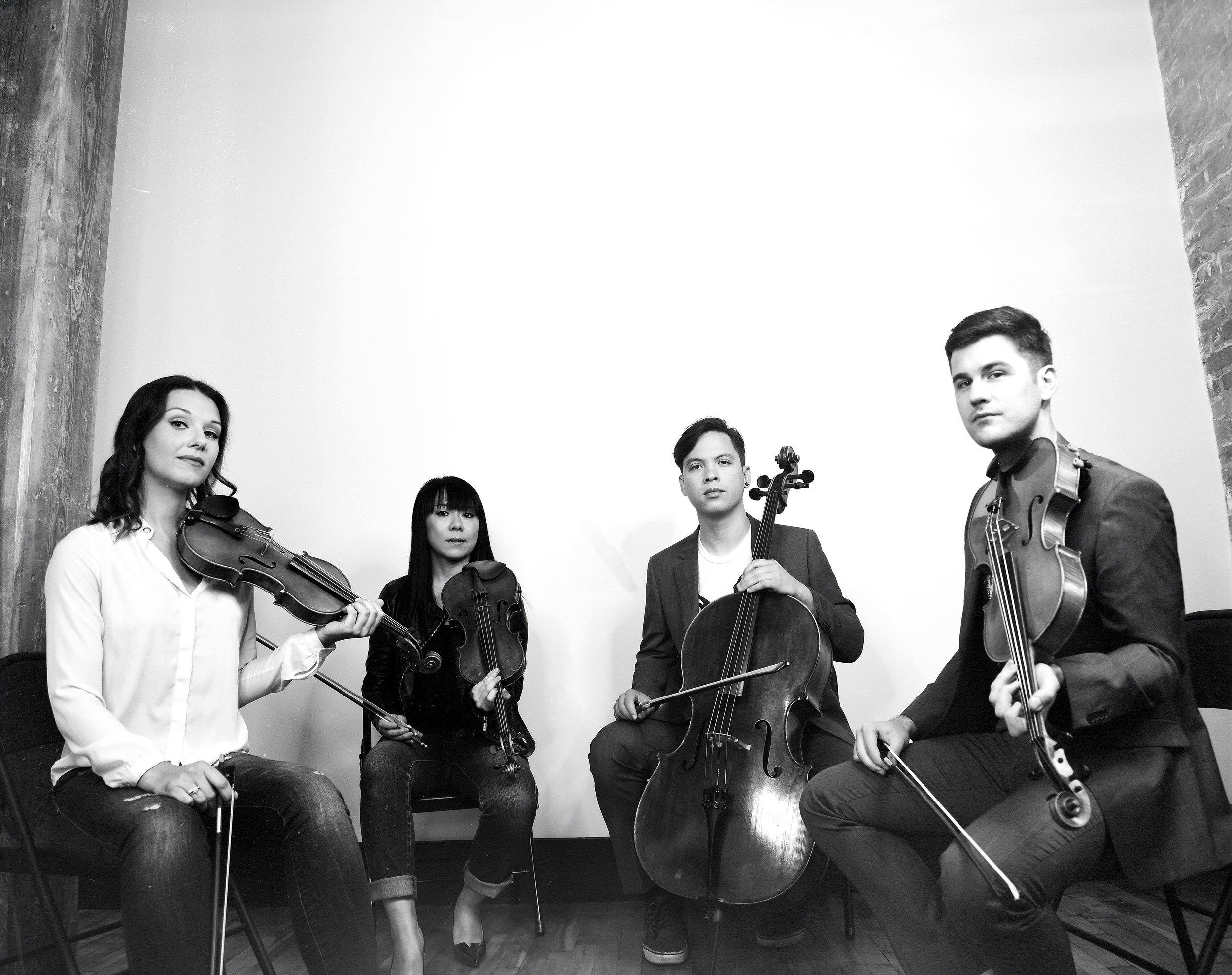 Attacca Quartet (from left): Amy Schroeder and Keiko Tokunaga, violins; Andrew Yee, cello; Nathan Schram, viola. Shervin Lainez photograph