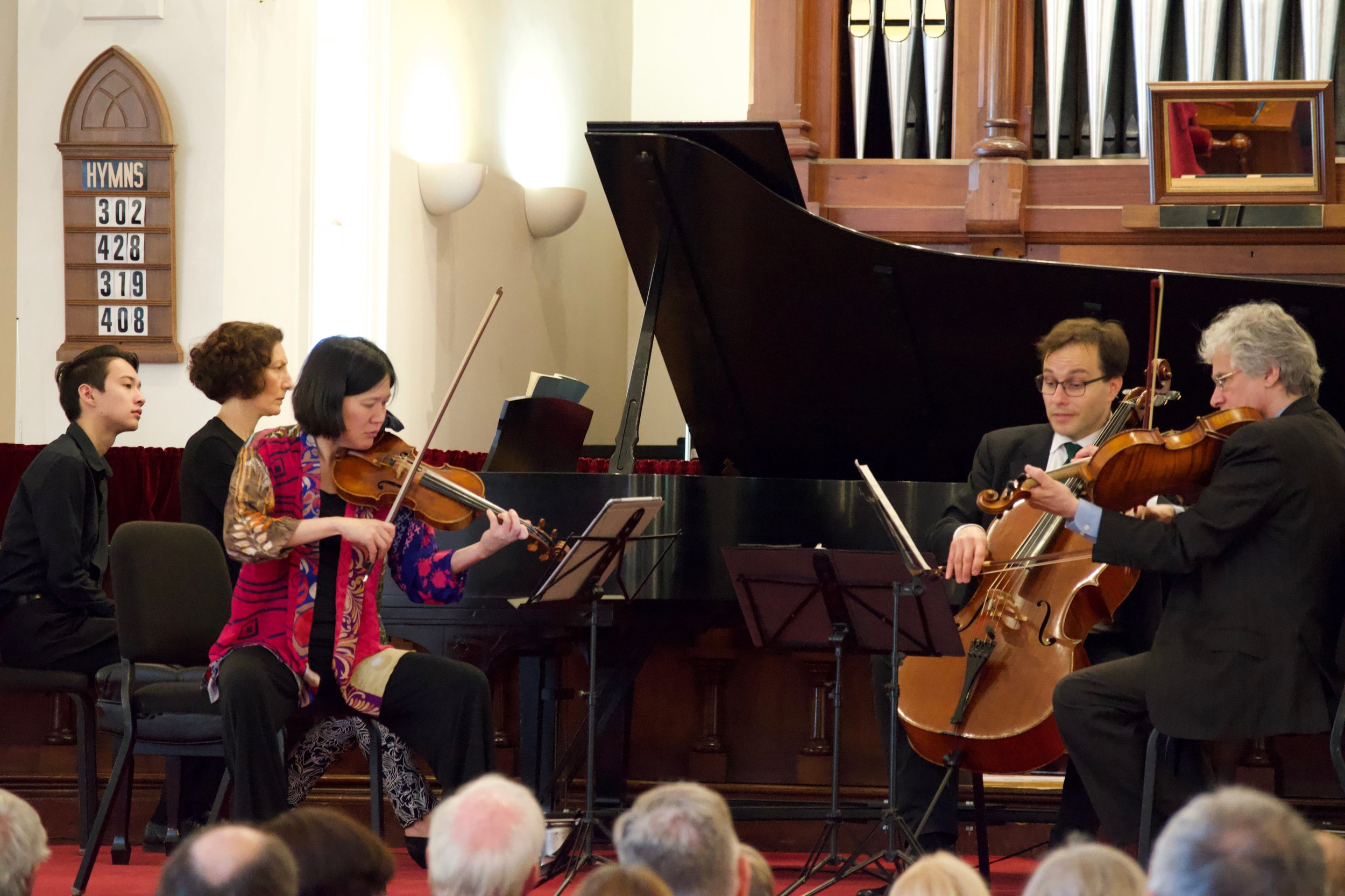 Elizabeth Chang (violin) leads the Lighthouse Chamber Players.