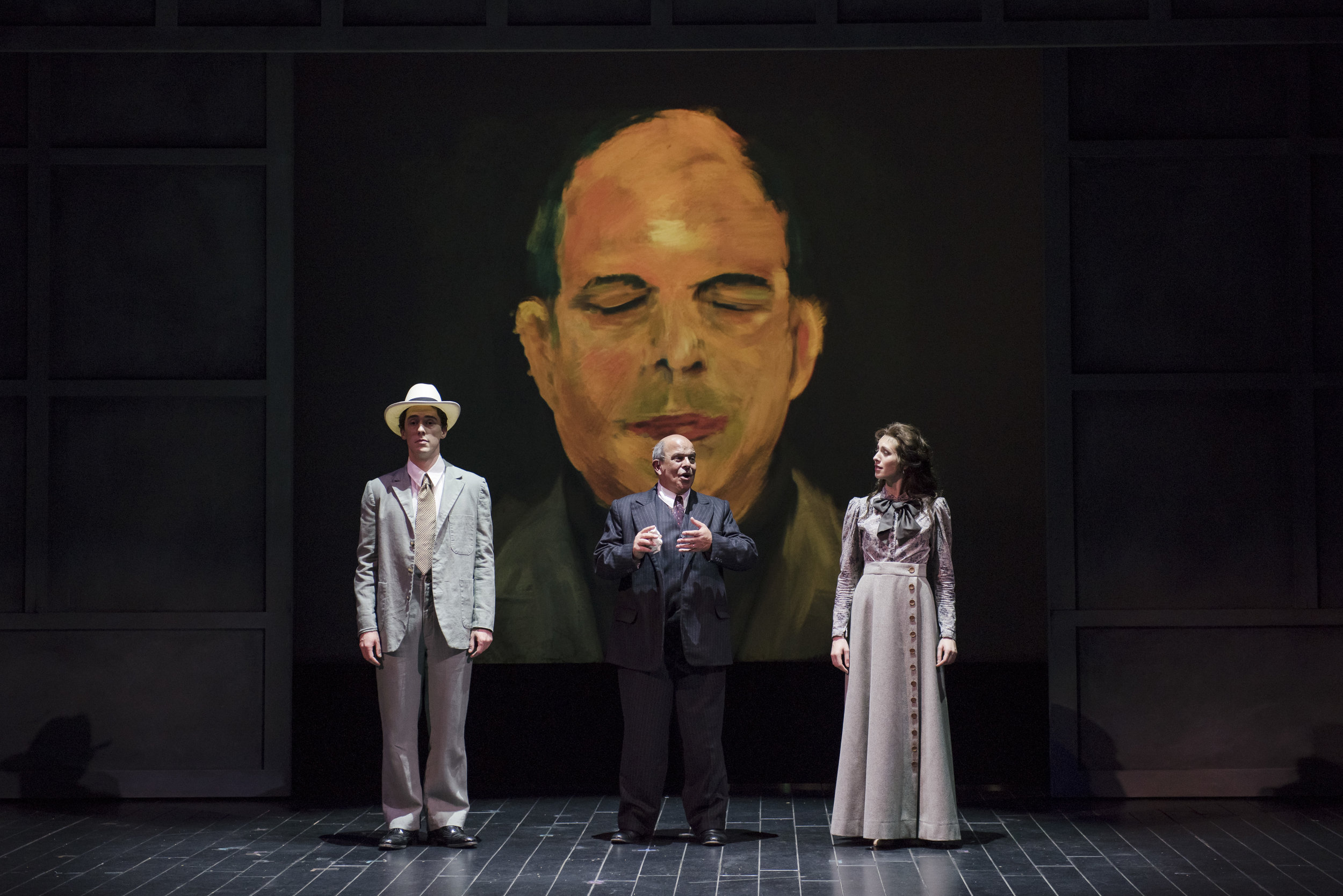 The cast of Schoenberg in Hollywood, with the composer looking on: tenor Jesse Darden (l), baritone Omar Ebrahim, and soprano Sara Womble. Liza Voll photography