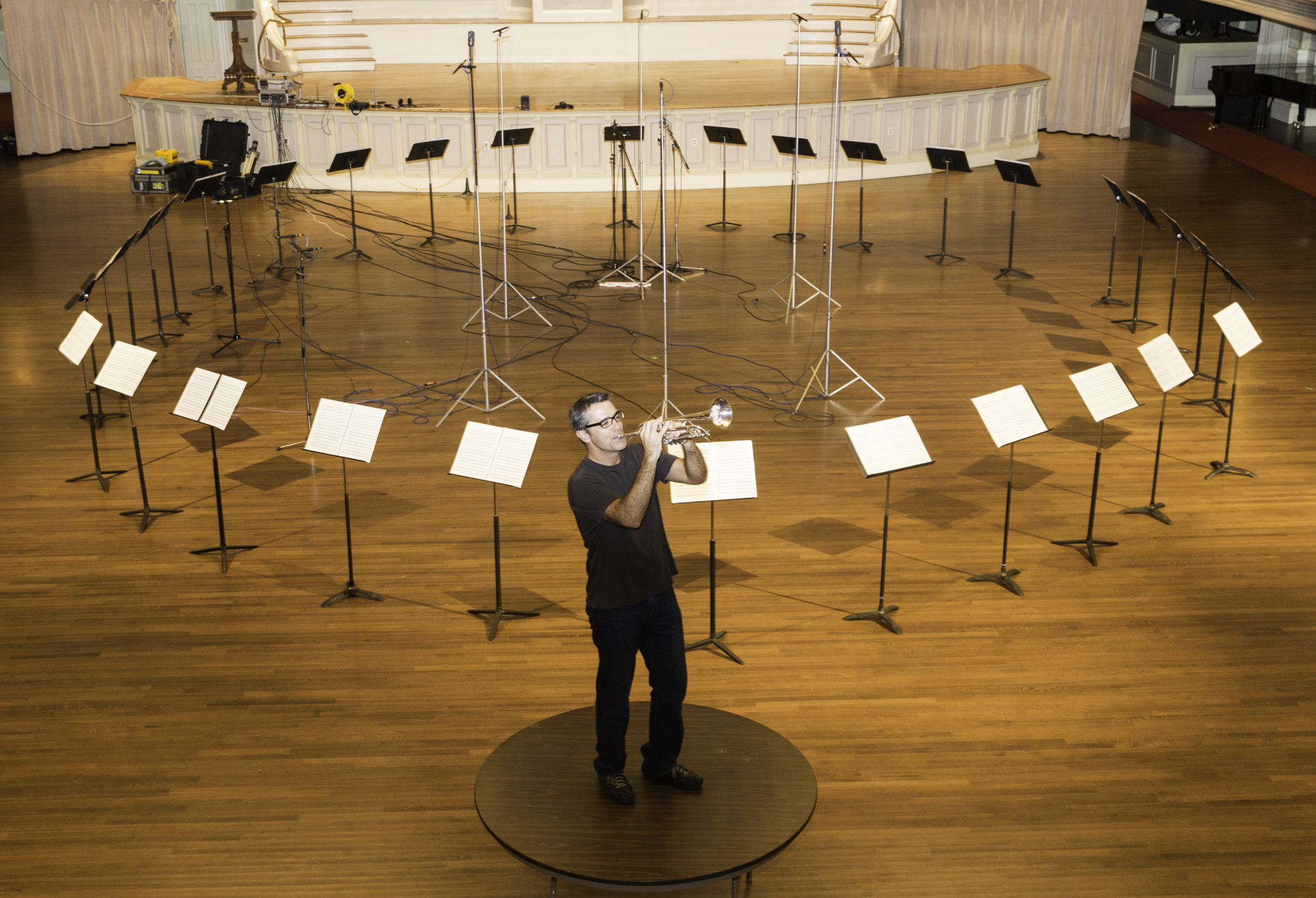 Trumpeter Craig Morris, working his way around Philip Glass's Pieces in the Shape of a Square. Michael Lutch photograph