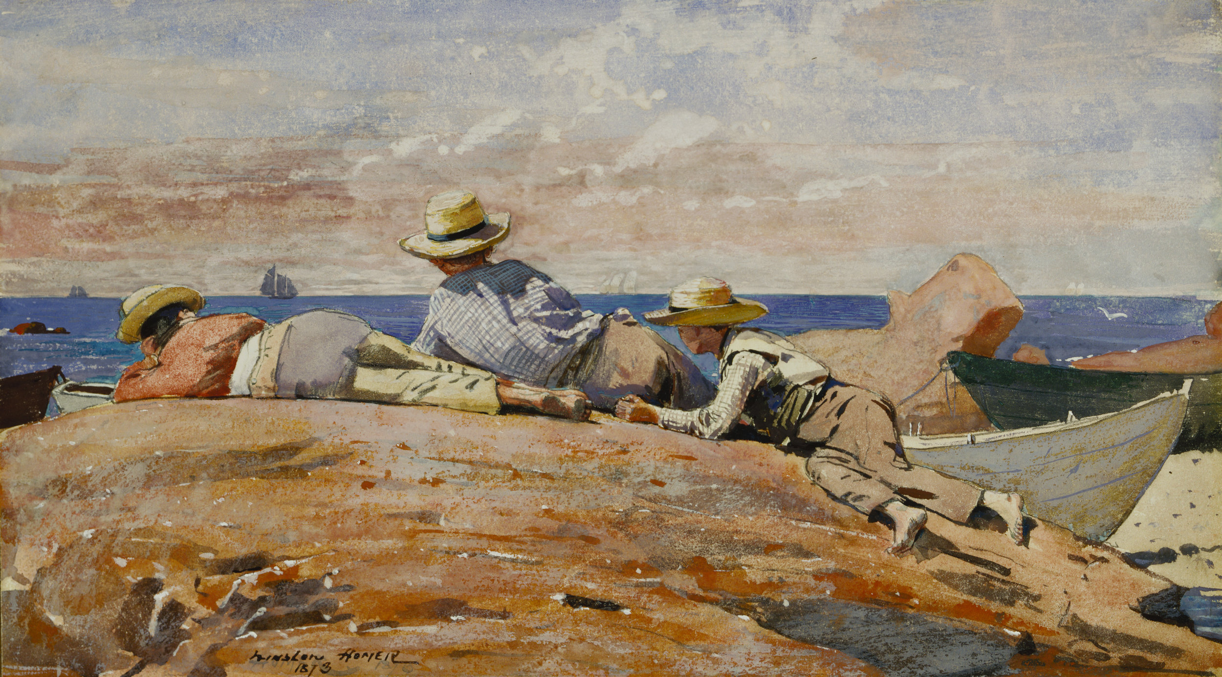 Winslow Homer (1836-1910),  Three Boys on the Shore,  1873. Gouache and watercolor on paper mounted on board. Daniel J. Terra Collection.