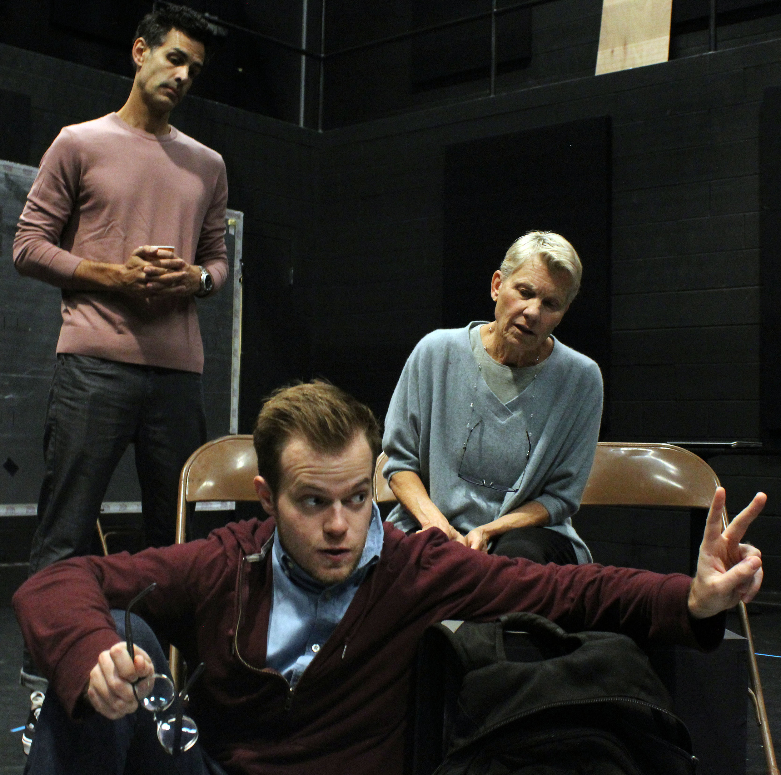 The cast of Gloucester Stage Company's Lifespan of a Fact, l to r: Mickey Solis, Derek Speedy, and Lindsay Crouse. Julia Lorello photograph. Sam Weisman directs.