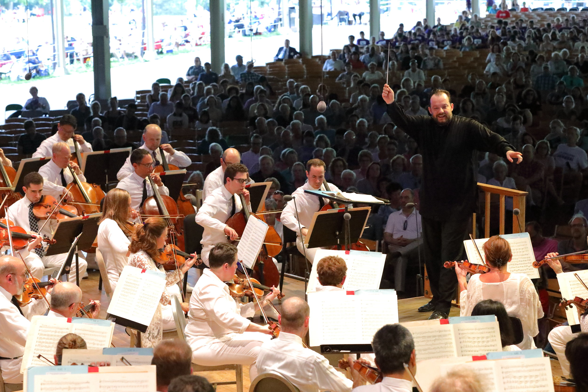 Andris Nelsons conducts the Boston Symphony Orchestra at Tanglewood. Hilary Scott photograph