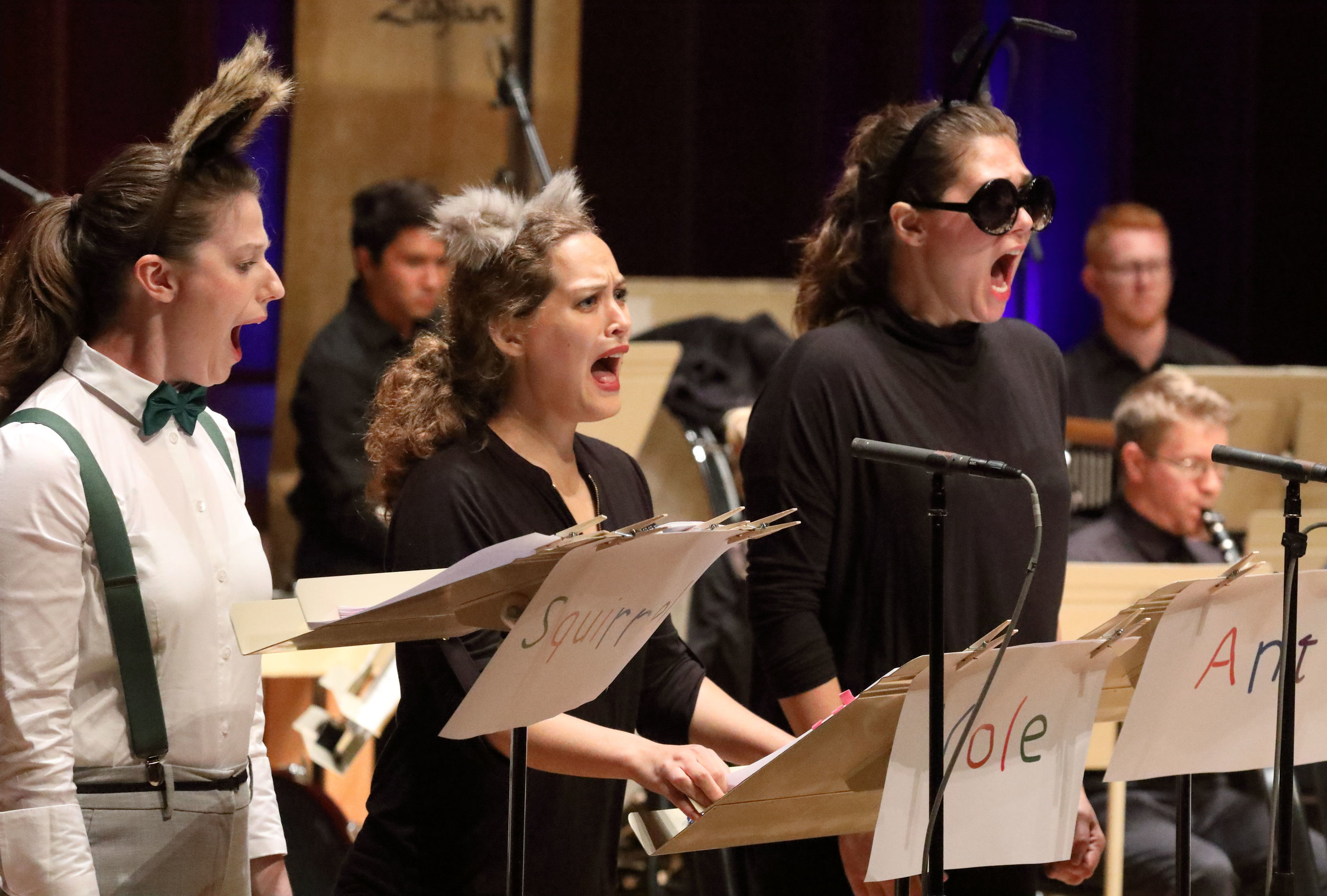 A scene from Richard Ayres's The Cricket Recovers at Tanglewood's Festival of Contemporary Music: TMC vocal fellows Kameryn Lueng, Emily Helenbrook, and Chloe Schaaf (left to right; Hilary Scott photograph).