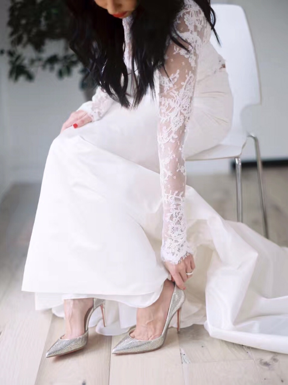 Long Sleeve, Fit and Flare, Covered Chest Gown