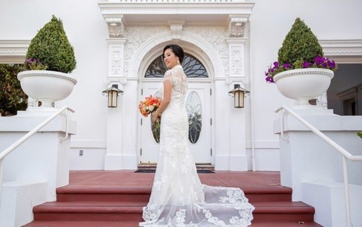 Covered Back, High Neck, Cap Sleeves, A line Gown