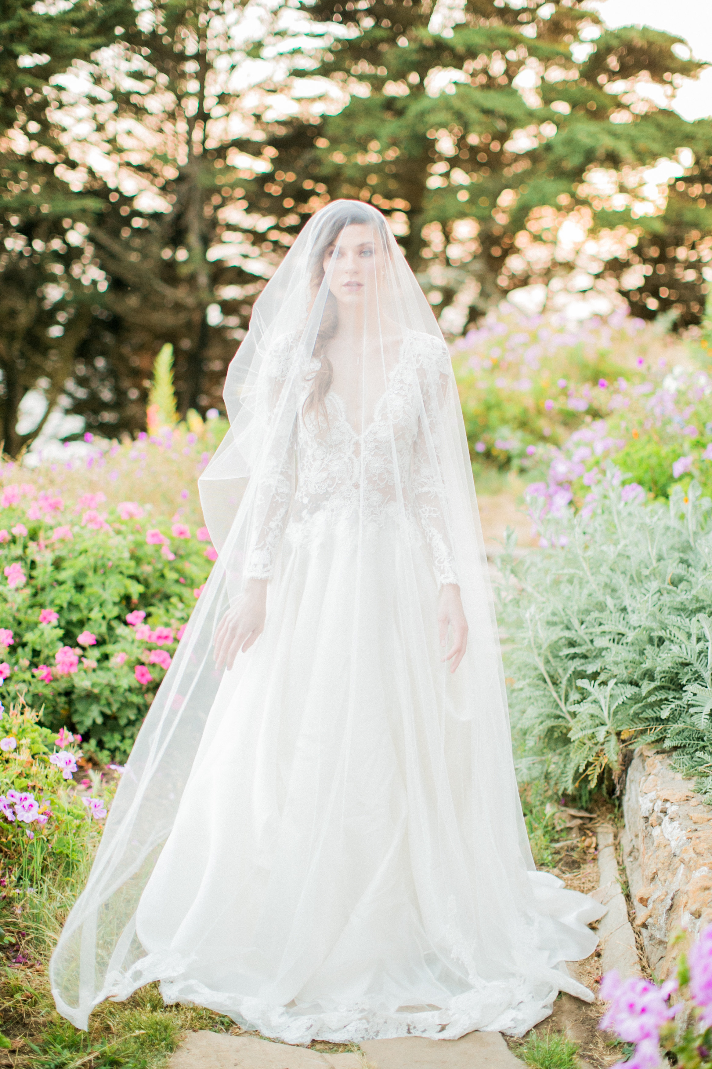 Illusion Lace Top, Long Sleeve, A line Gown