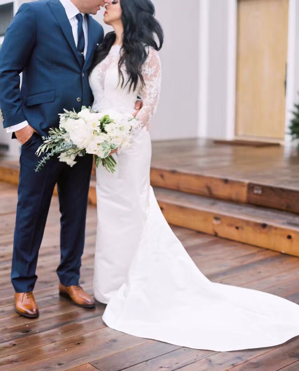 Covered Chest, Long Lace Sleeve, Trumpet Gown