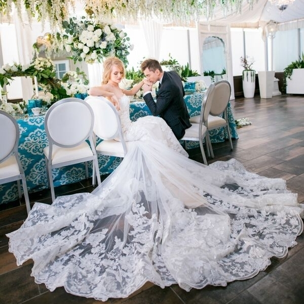 3/4 Sleeve, Covered Lace Back Trumpet Gown