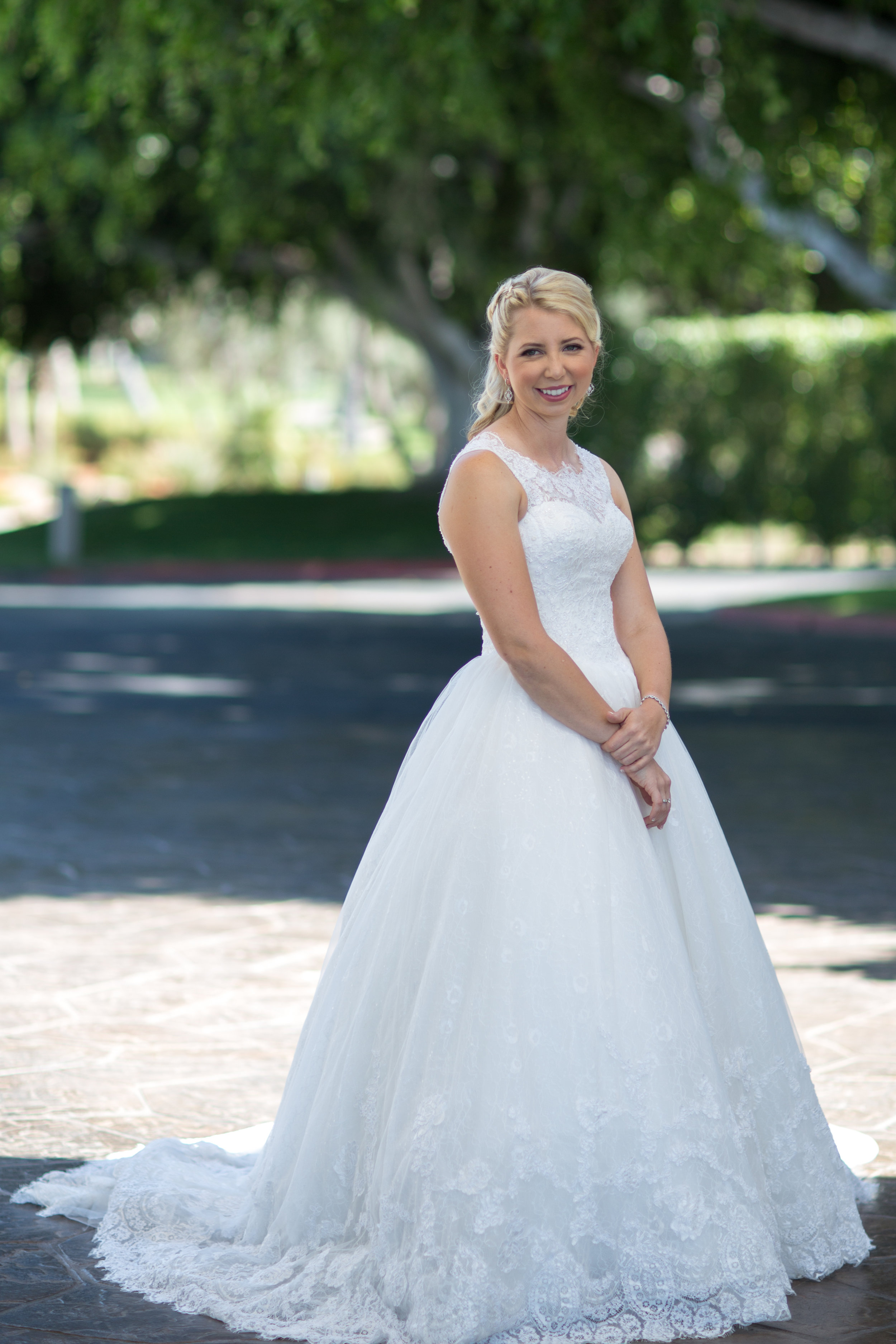 Covered chest, boat neck, A line Gown