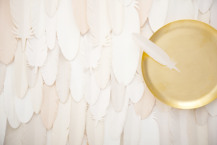 Handcut paper feathers // Photoshoot Custom Surface