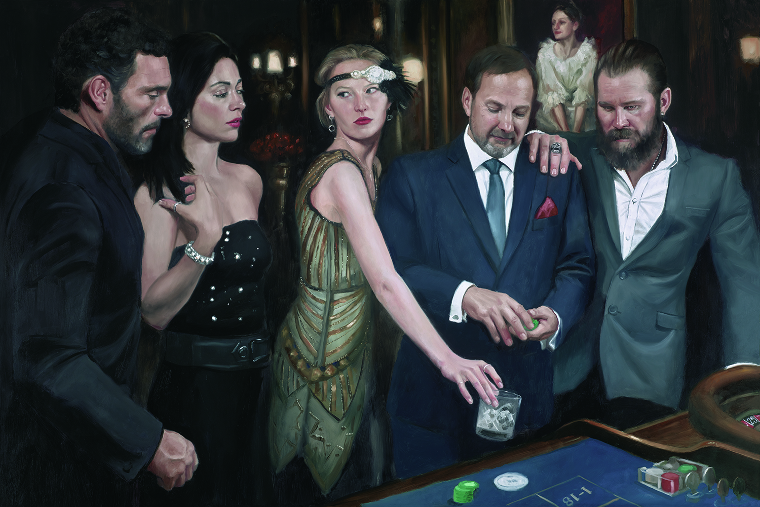 The Diamond Roulette - The Diamond Roulette is a series of paintings about a diamond heist at the Ritz Casino. It was first shown on 5th December 2018 at the Ritz Casino. Click image to see the series.
