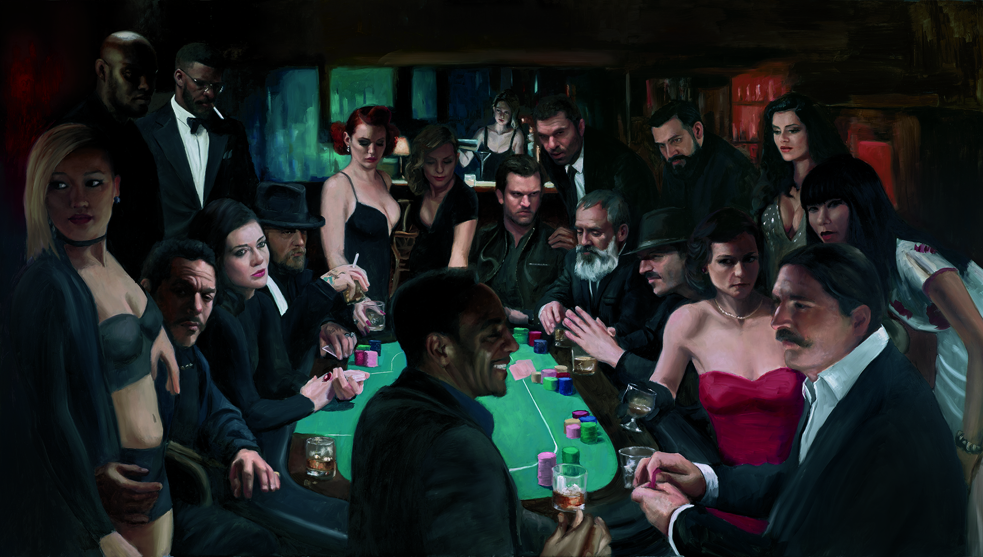 The Long Game - The Long Game is a series of paintings telling the story greed and vengeance and poker. The paintings were shown at Clarendon Fine Art, Mayfair on November 8th 2018. Click on image to see the series.