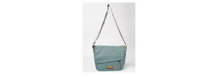 Nylon water resistant messenger bag.
