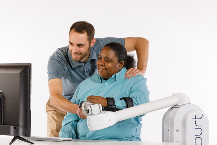 Example of an upper extremity in-clinic robotic therapy device.